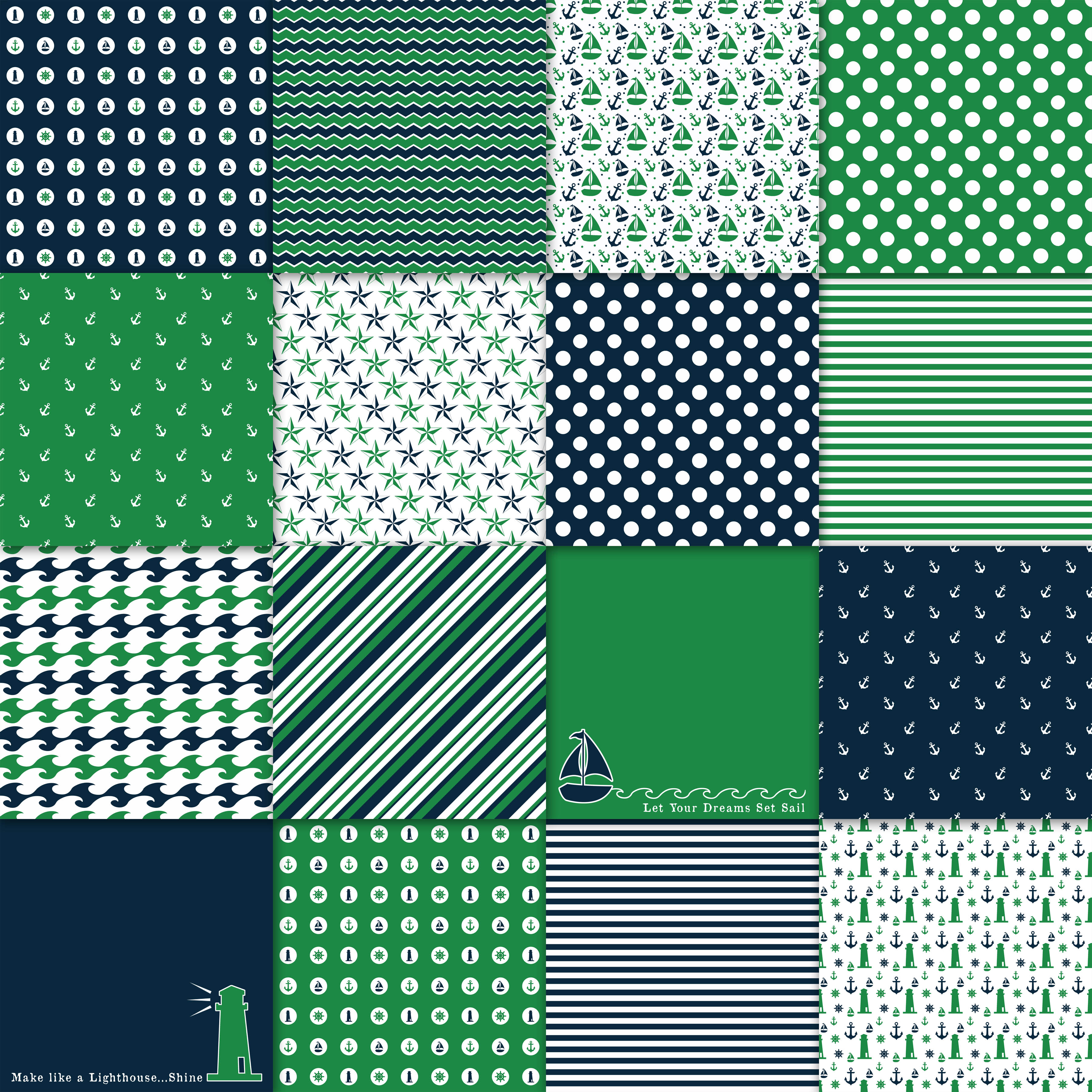 Print on Demand: Green and Navy Nautical Designs Digital Paper Graphic Backgrounds By oldmarketdesigns - Image 2