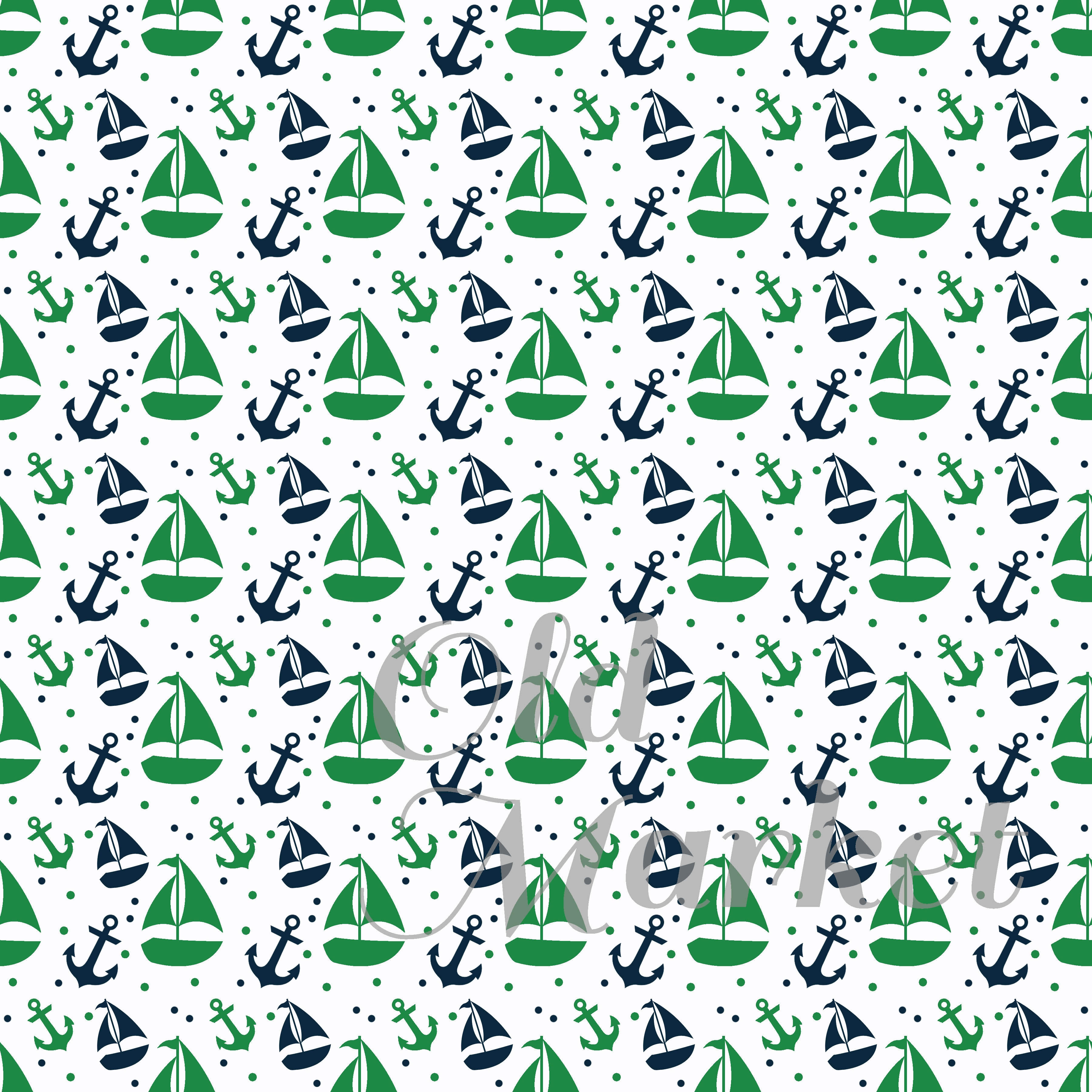 Print on Demand: Green and Navy Nautical Designs Digital Paper Graphic Backgrounds By oldmarketdesigns - Image 3