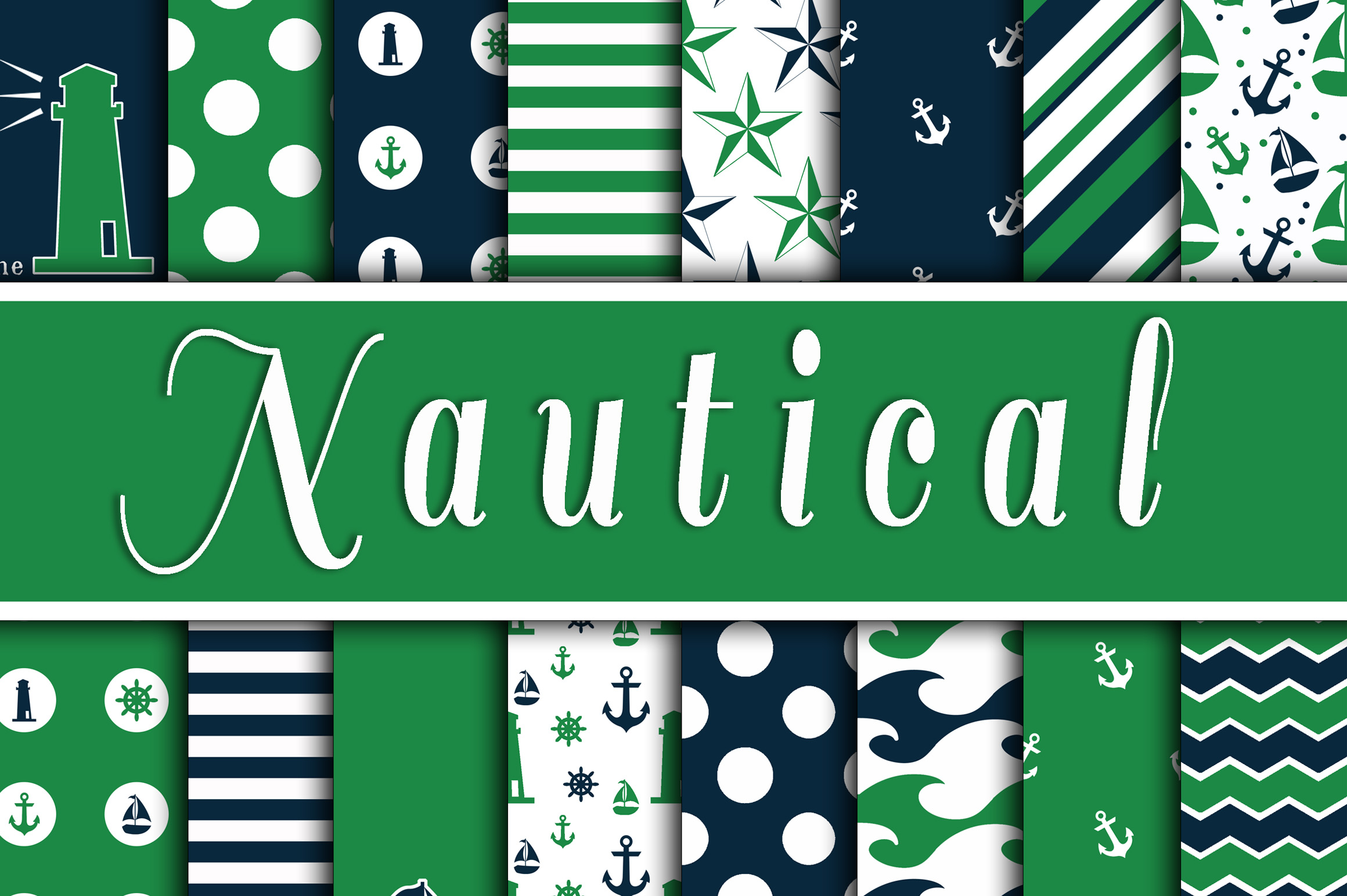 Green and Navy Nautical Designs Digital Paper Graphic Backgrounds By oldmarketdesigns - Image 1