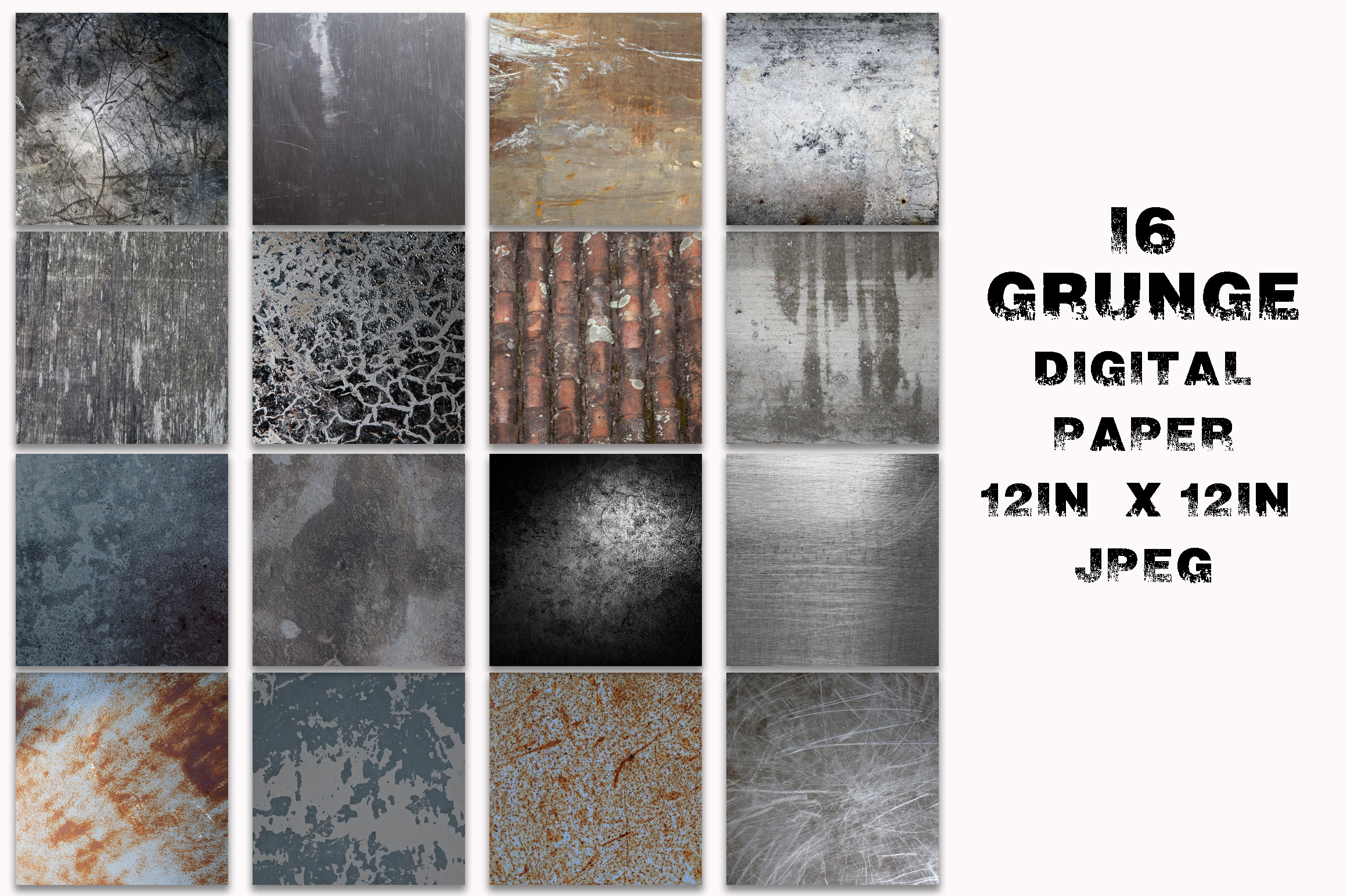 Print on Demand: Grunge Metal Textures Digital Paper Graphic Textures By oldmarketdesigns - Image 2