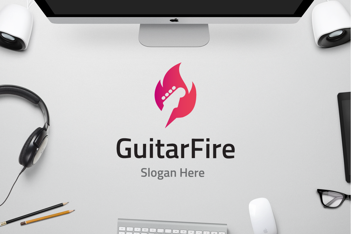 Guitar Fire Graphic Logos By yip87