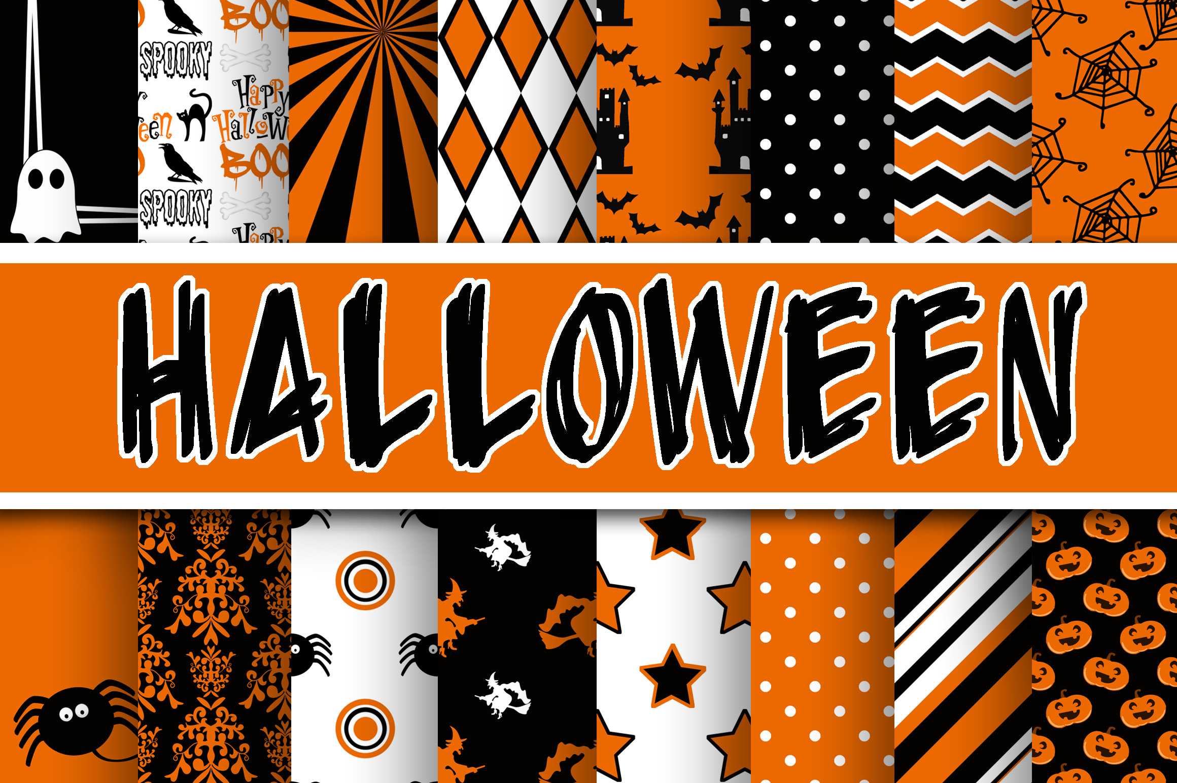 Print on Demand: Halloween Digital Paper Graphic Backgrounds By oldmarketdesigns