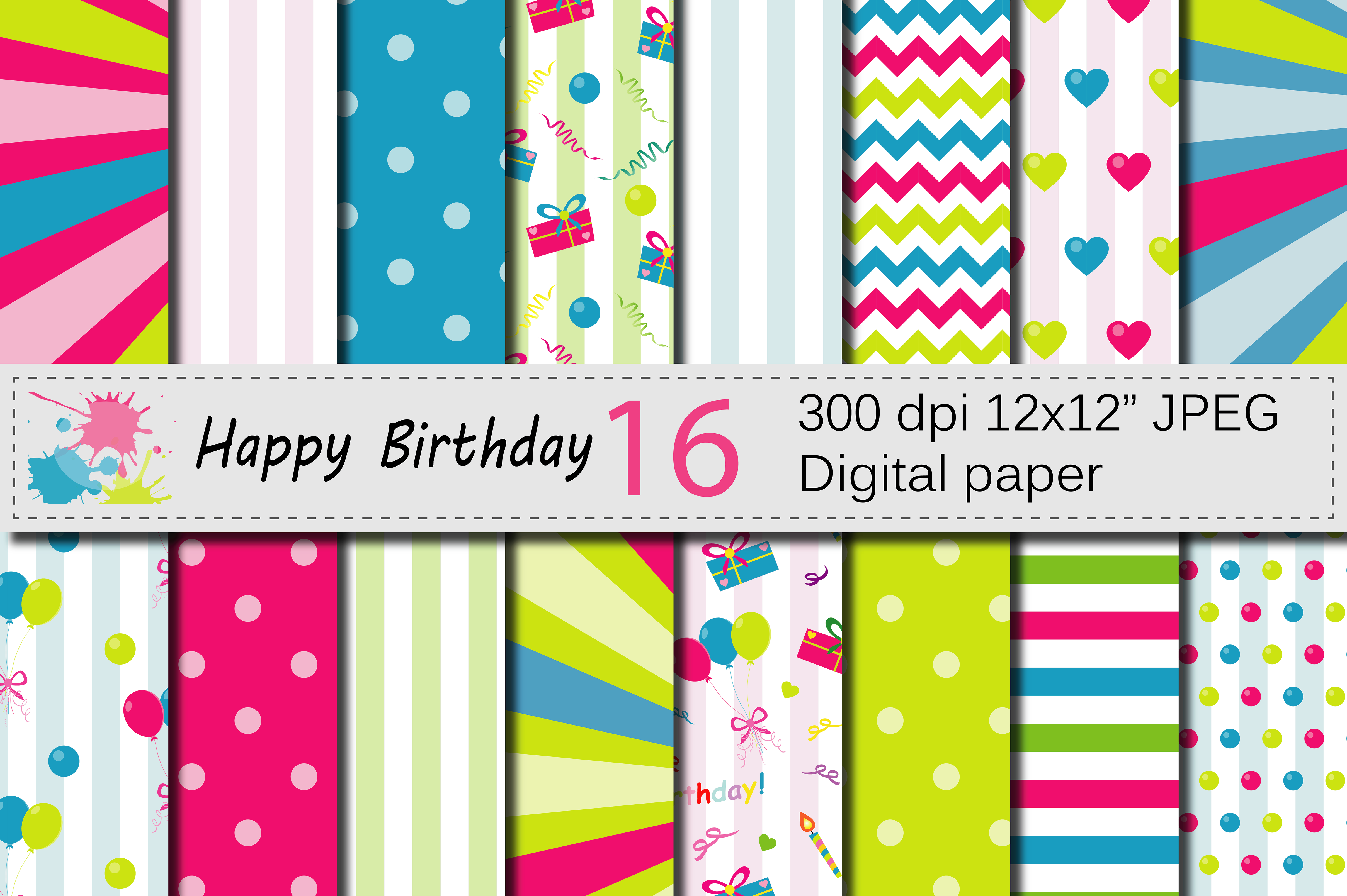 Happy Birthday Digital Papers with Balloons and Presents / Kids Birthday Party Backgrounds Grafik Hintegründe von VR Digital Design