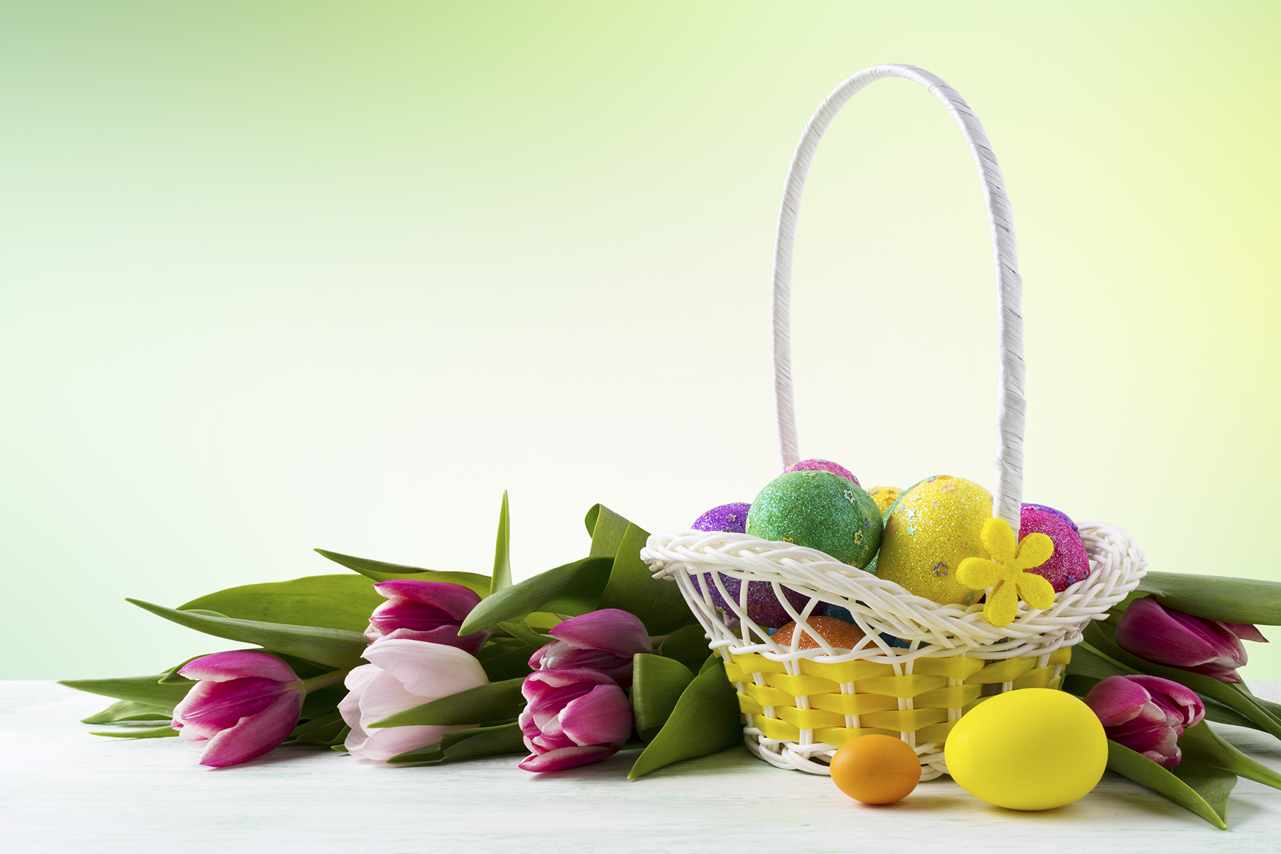 Happy Easter Elegant Background with Painted Eggs in Yellow Basket. Graphic By TasiPas