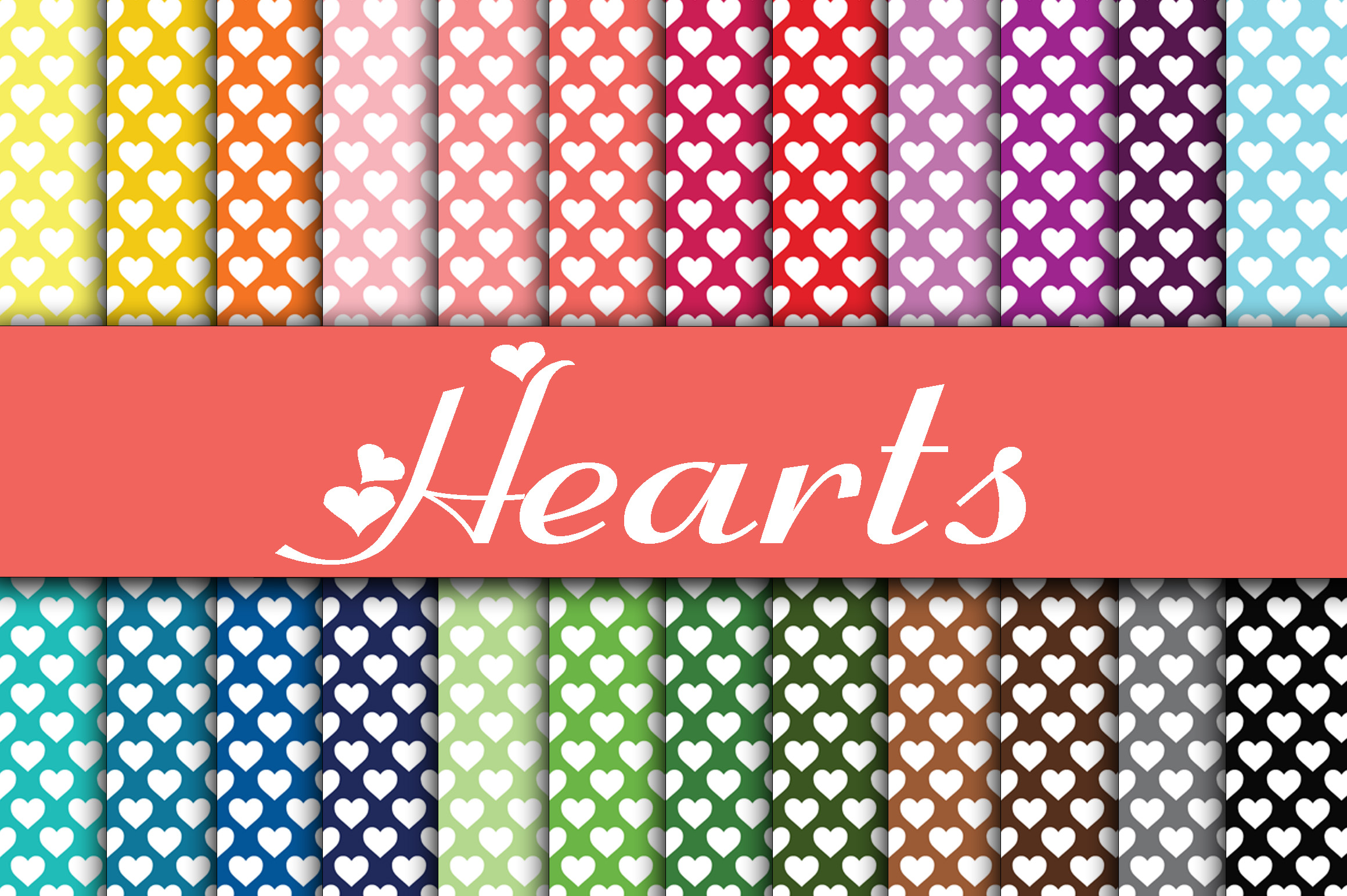 Hearts Digital Paper Graphic Backgrounds By oldmarketdesigns