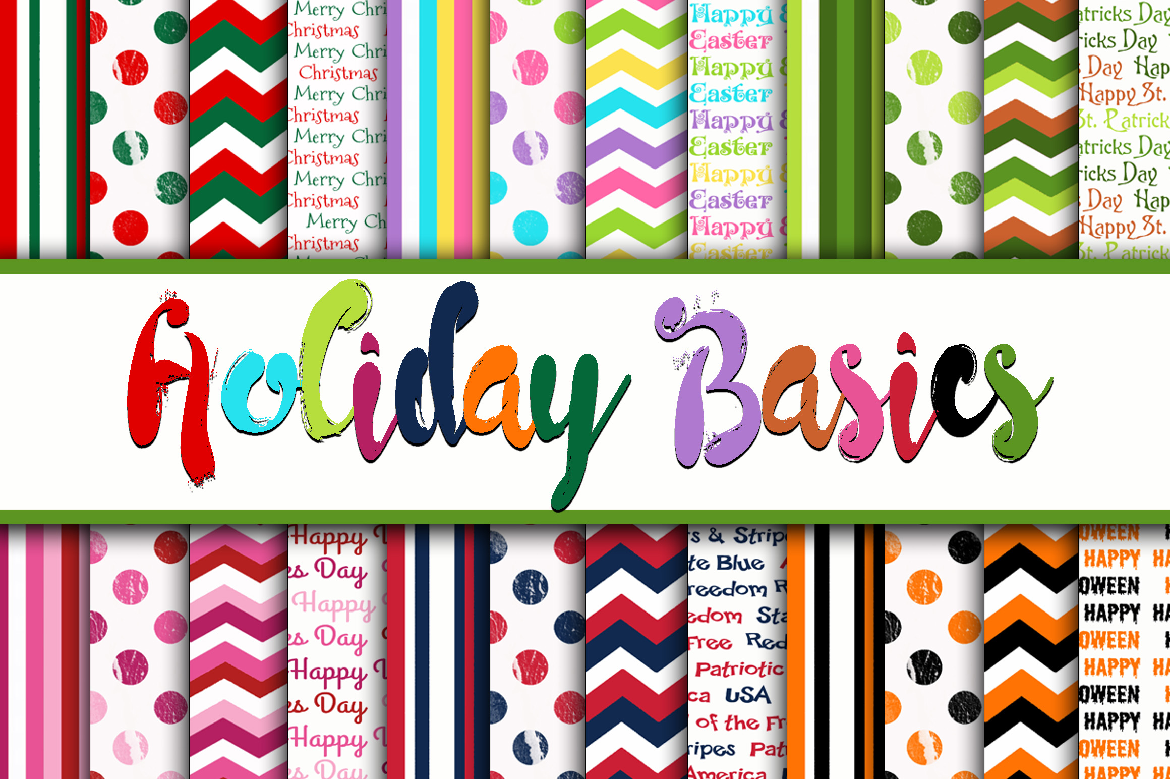 Holiday Basics Digital Paper Graphic By oldmarketdesigns