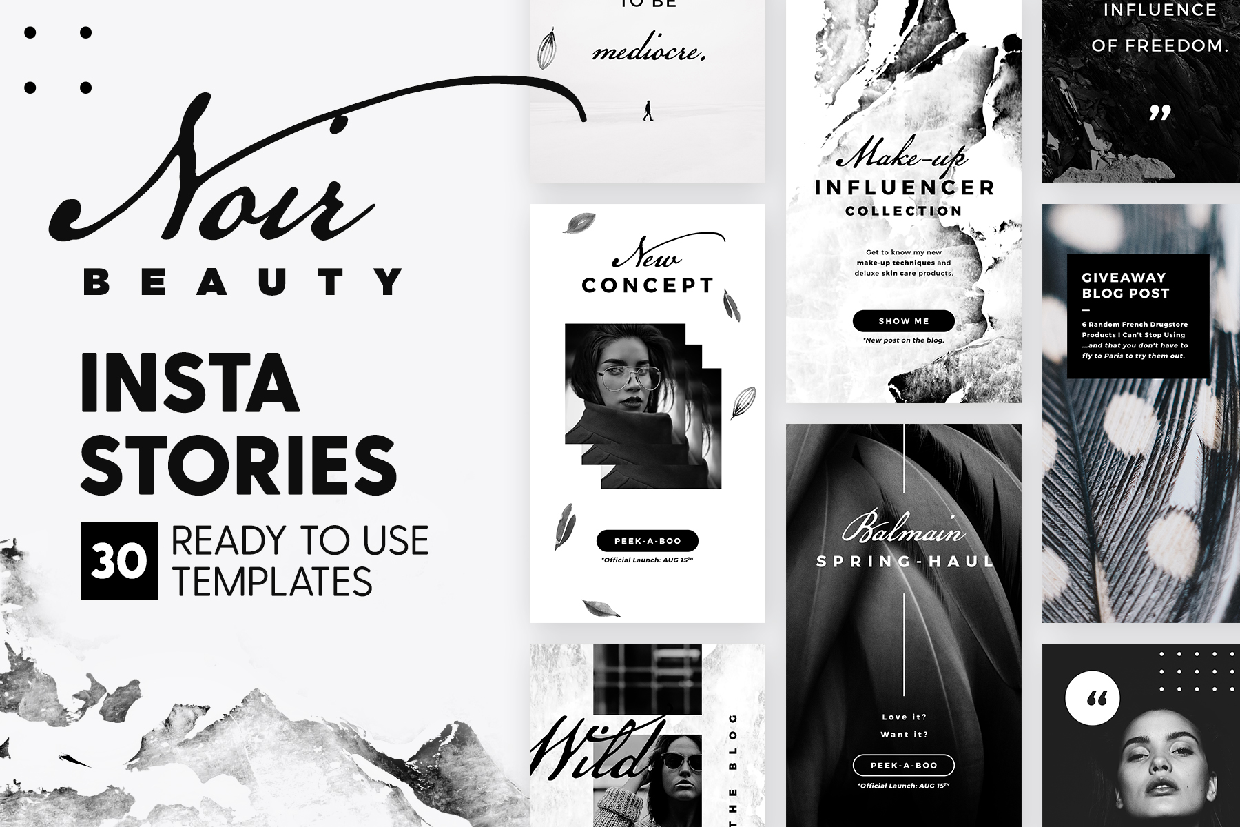 Print on Demand: Instagram Stories - Noir Beauty Graphic Web Templates By lavie1blonde - Image 1