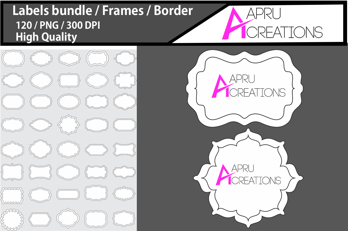 Print on Demand: Label 2 Line Frames Clipart Graphic Patterns By aparnastjp