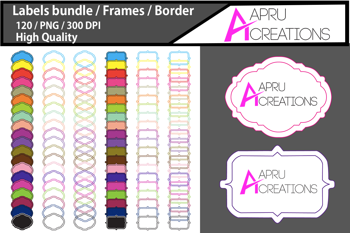 Print on Demand: Label Frames Clipart Graphic Textures By aparnastjp