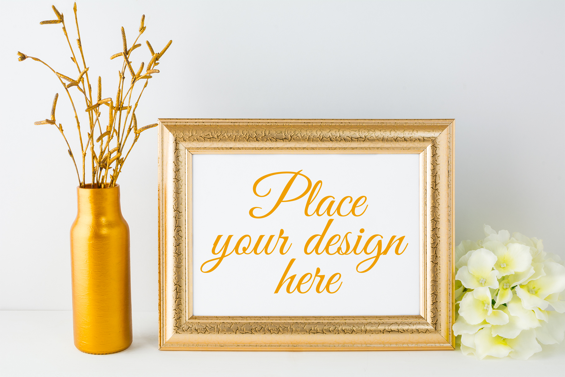 Print on Demand: Landscape Gold Frame Mockup Graphic Product Mockups By TasiPas