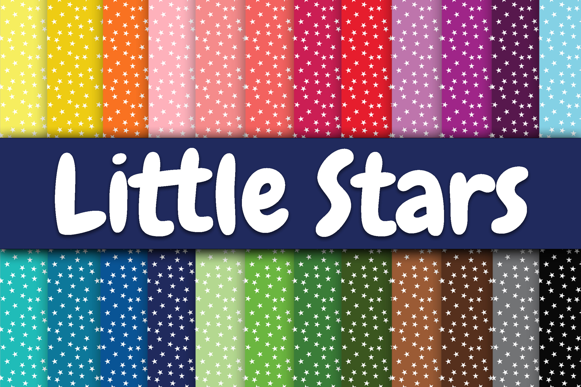 Print on Demand: Little Stars Digital Paper Graphic Backgrounds By oldmarketdesigns