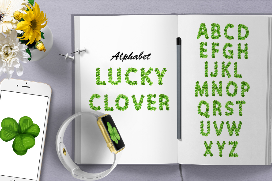 Lucky Clover Alphabet Graphic By InkandBrush