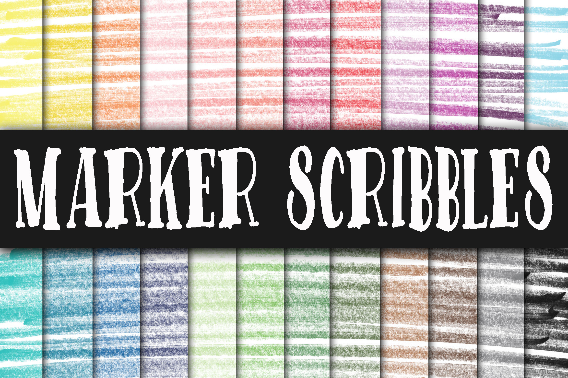 Print on Demand: Marker Scribbles Digital Paper Graphic Backgrounds By oldmarketdesigns