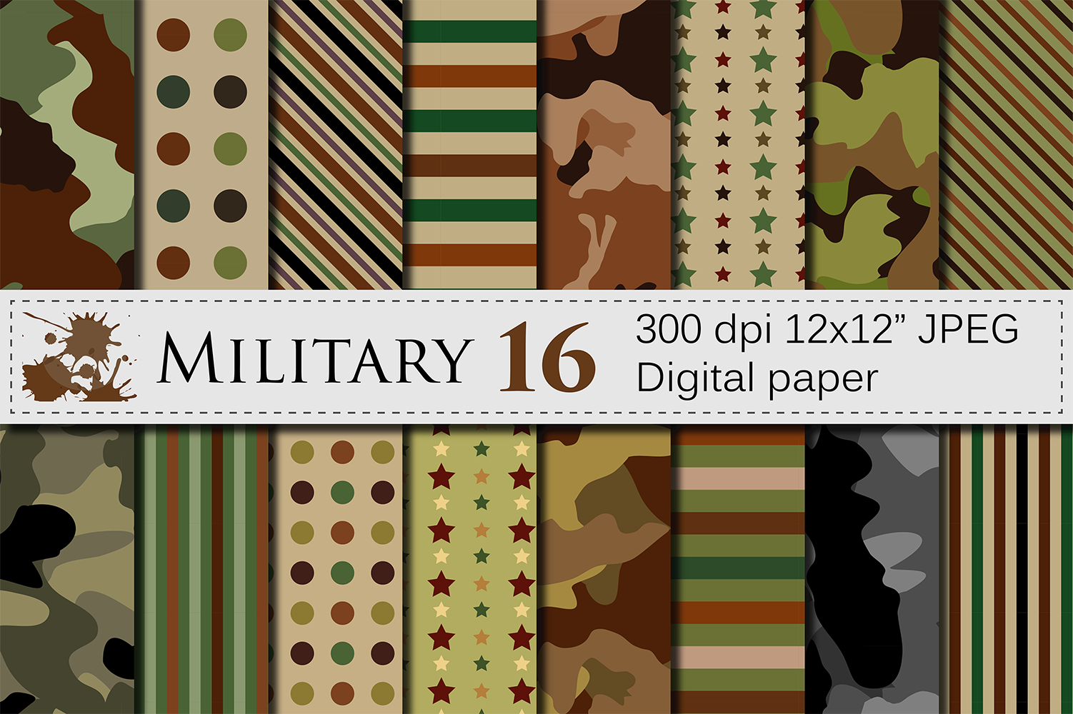 Military Digital Papers Graphic Backgrounds By VR Digital Design