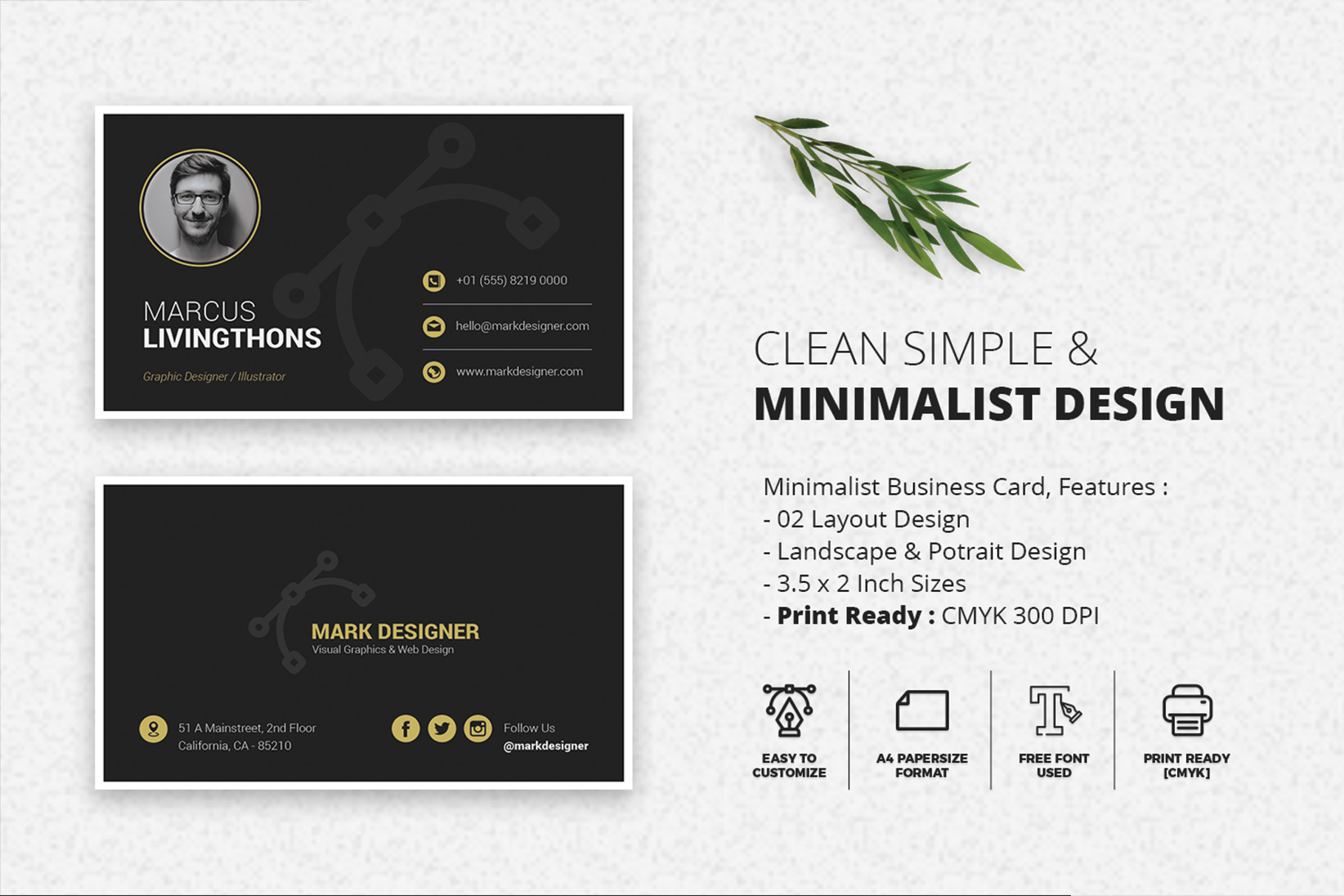 Print on Demand: Minimalist Business Card Graphic Print Templates By onedsgn - Image 2