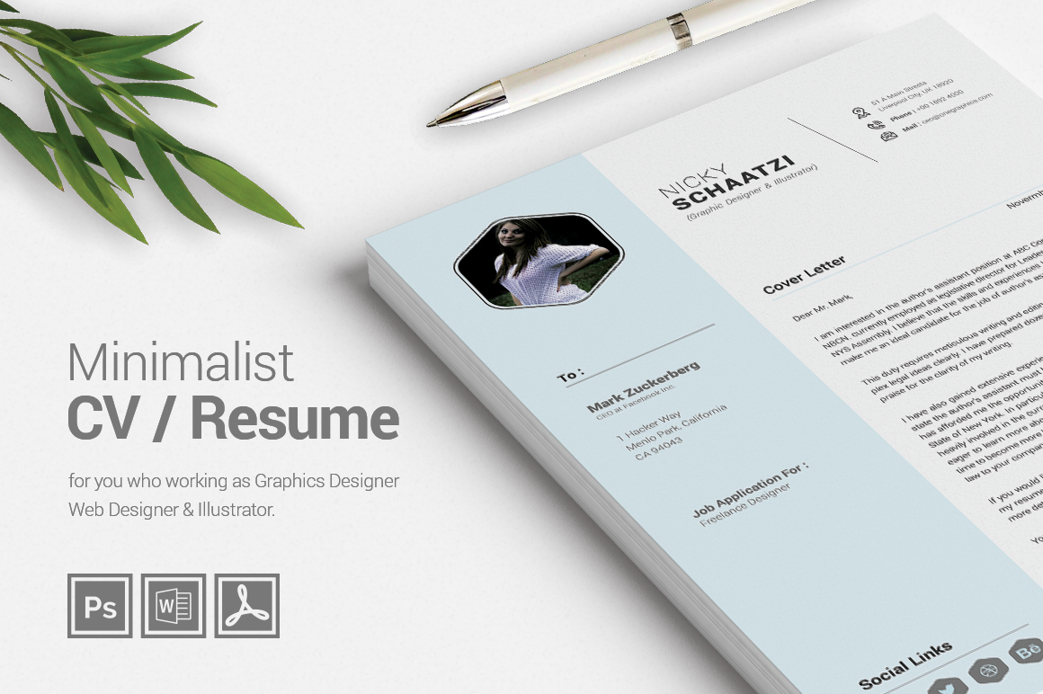 Minimalist CV / Resume + Business Card Graphic by misteroneart ...
