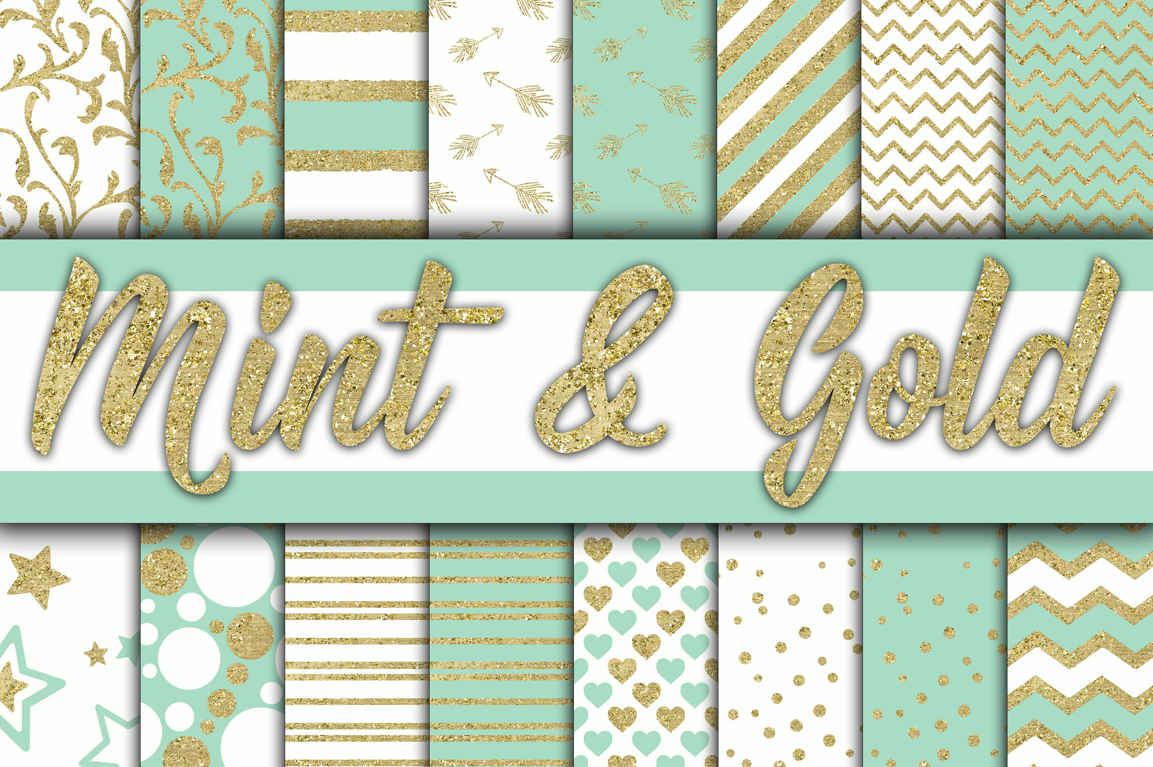 Print on Demand: Mint and Gold Digital Paper Graphic Backgrounds By oldmarketdesigns