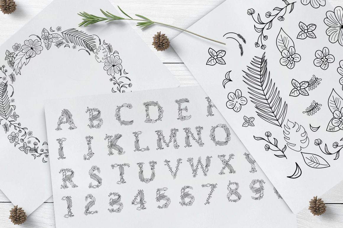 Monogram Floral Alphabet Letters & Numbers Graphic By InkandBrush