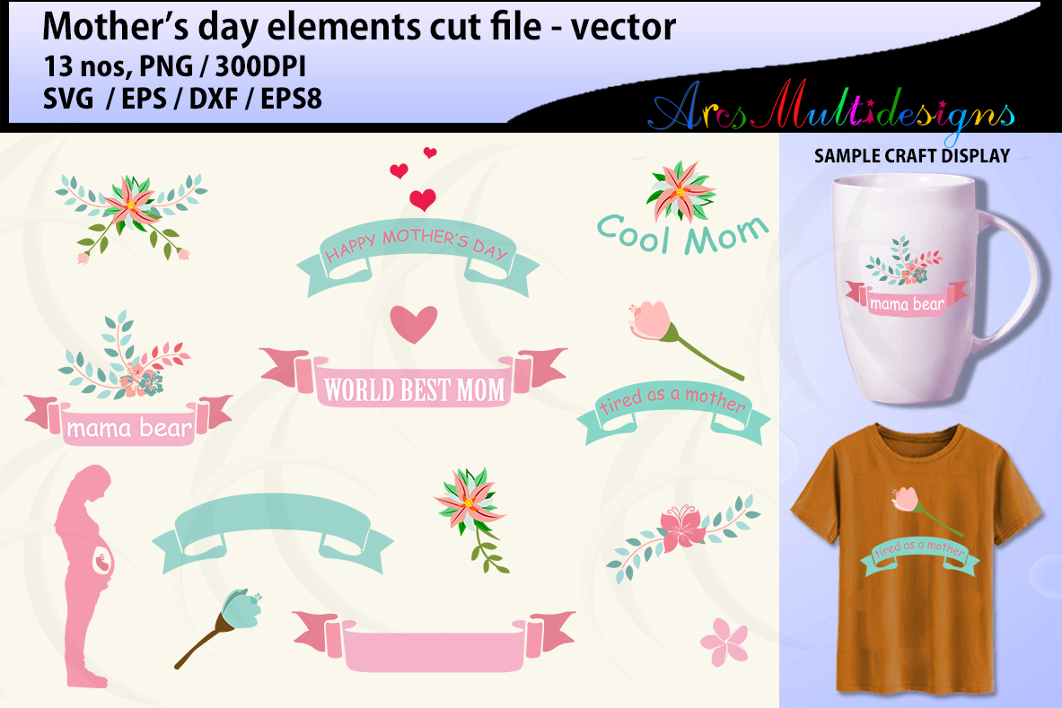 Mother S Day Elements Svg Vector Graphic By Arcs Multidesigns