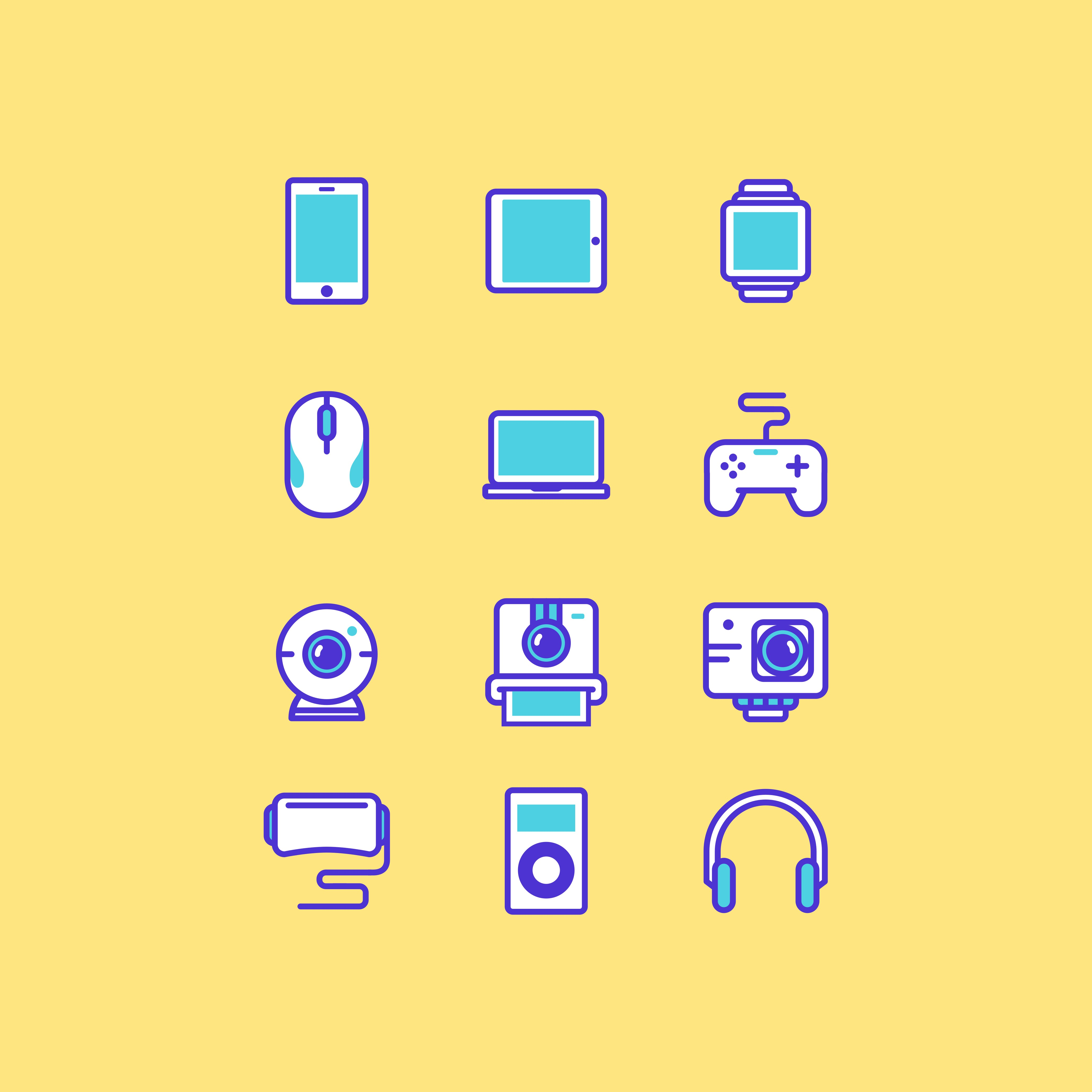 Print on Demand: Multimedia Gadget Icon Set Graphic Icons By herbanuts