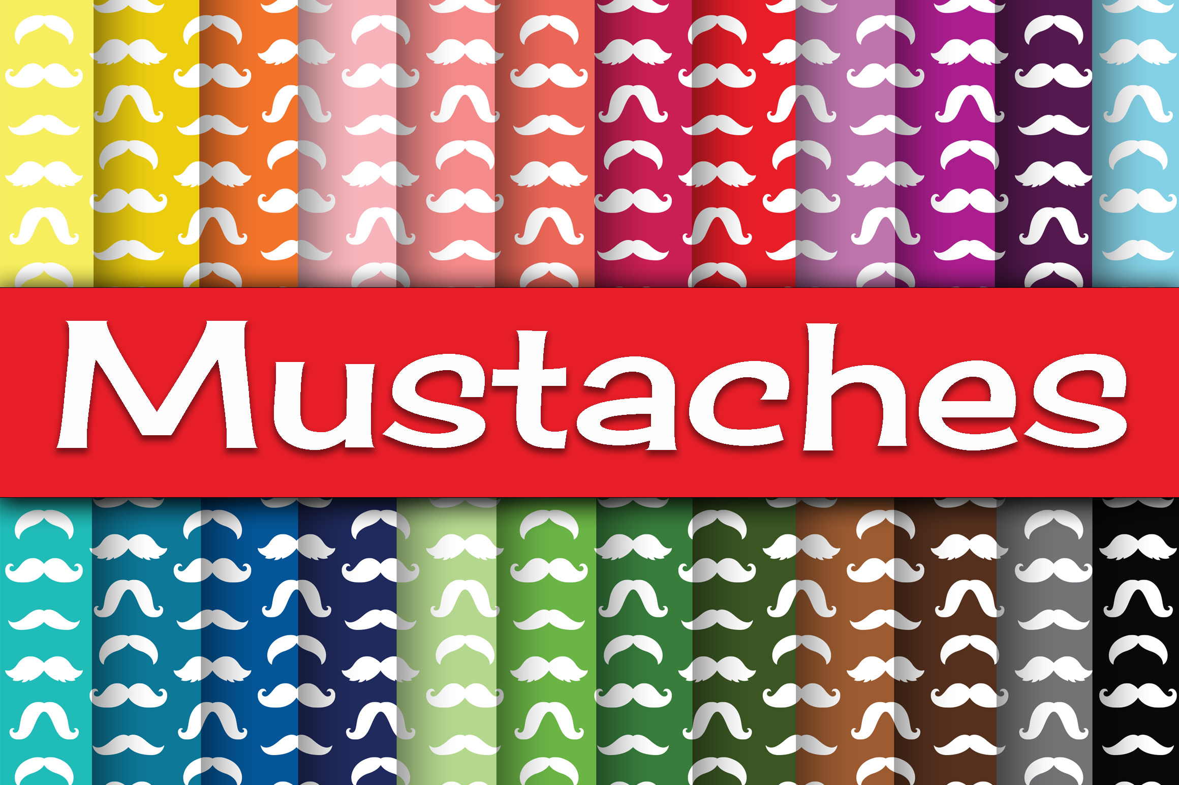 Print on Demand: Mustaches Digital Paper Graphic Backgrounds By oldmarketdesigns