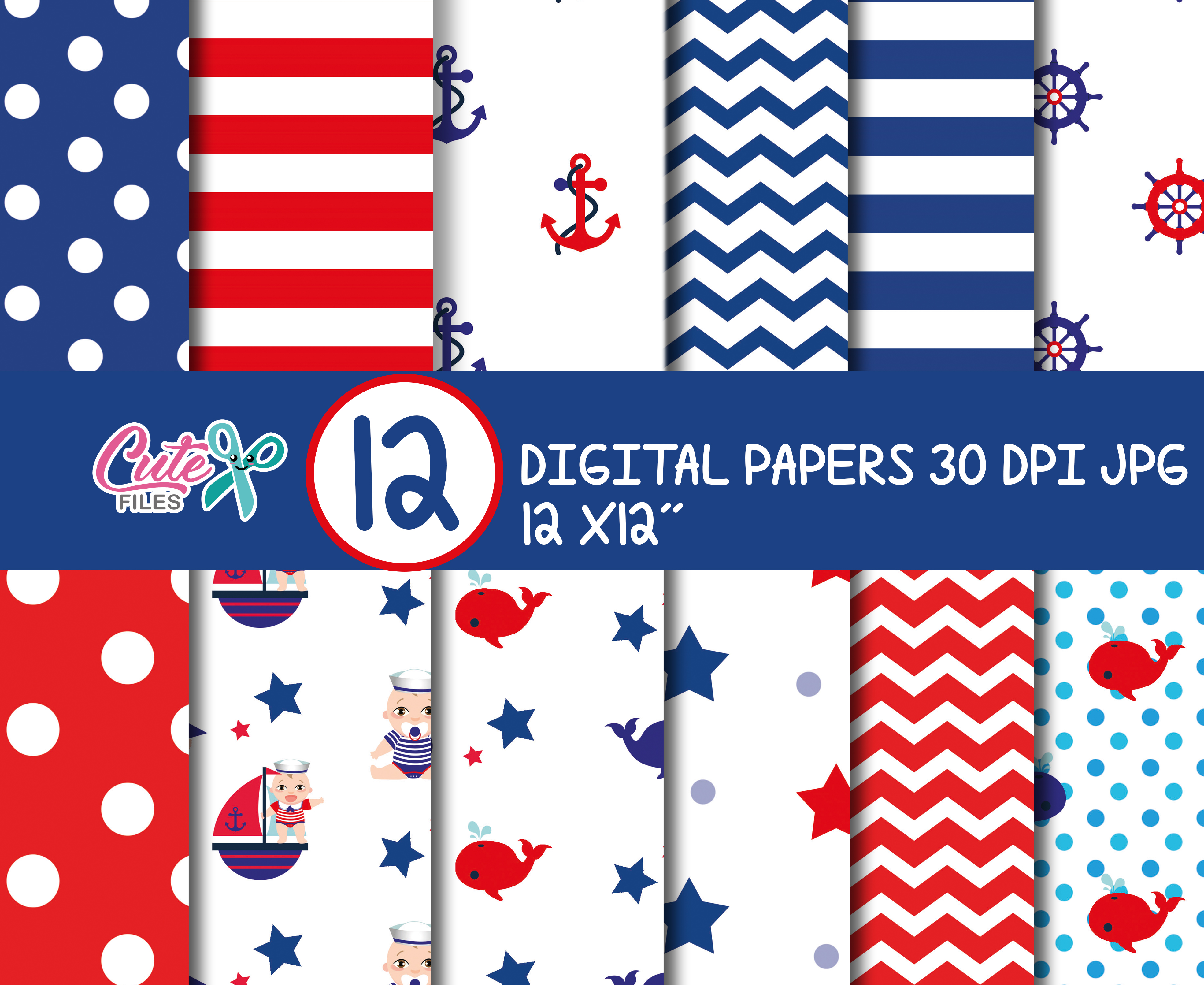 Nautical Digital Paper Set Graphic Crafts By Cute files