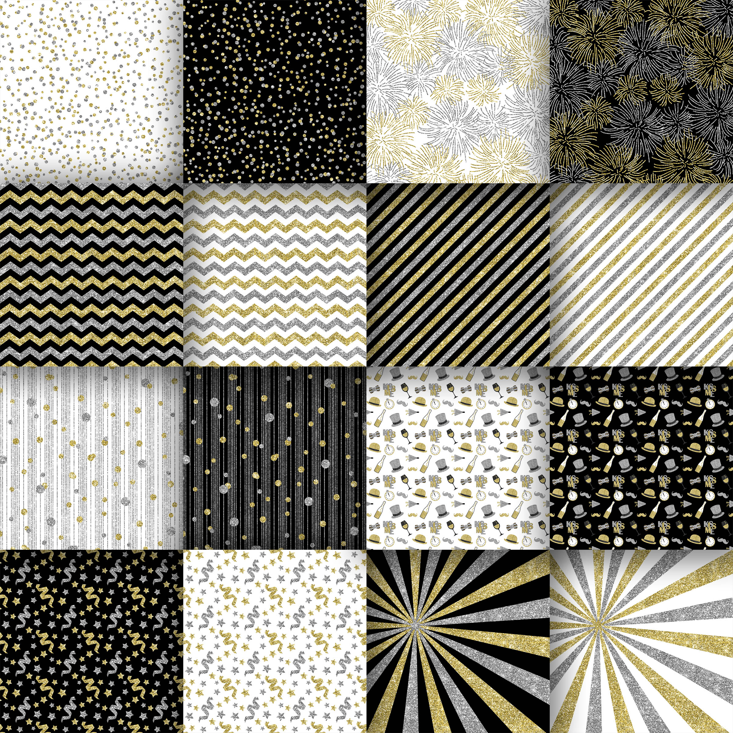 New Year Glitter Digital Paper Graphic Backgrounds By oldmarketdesigns - Image 2