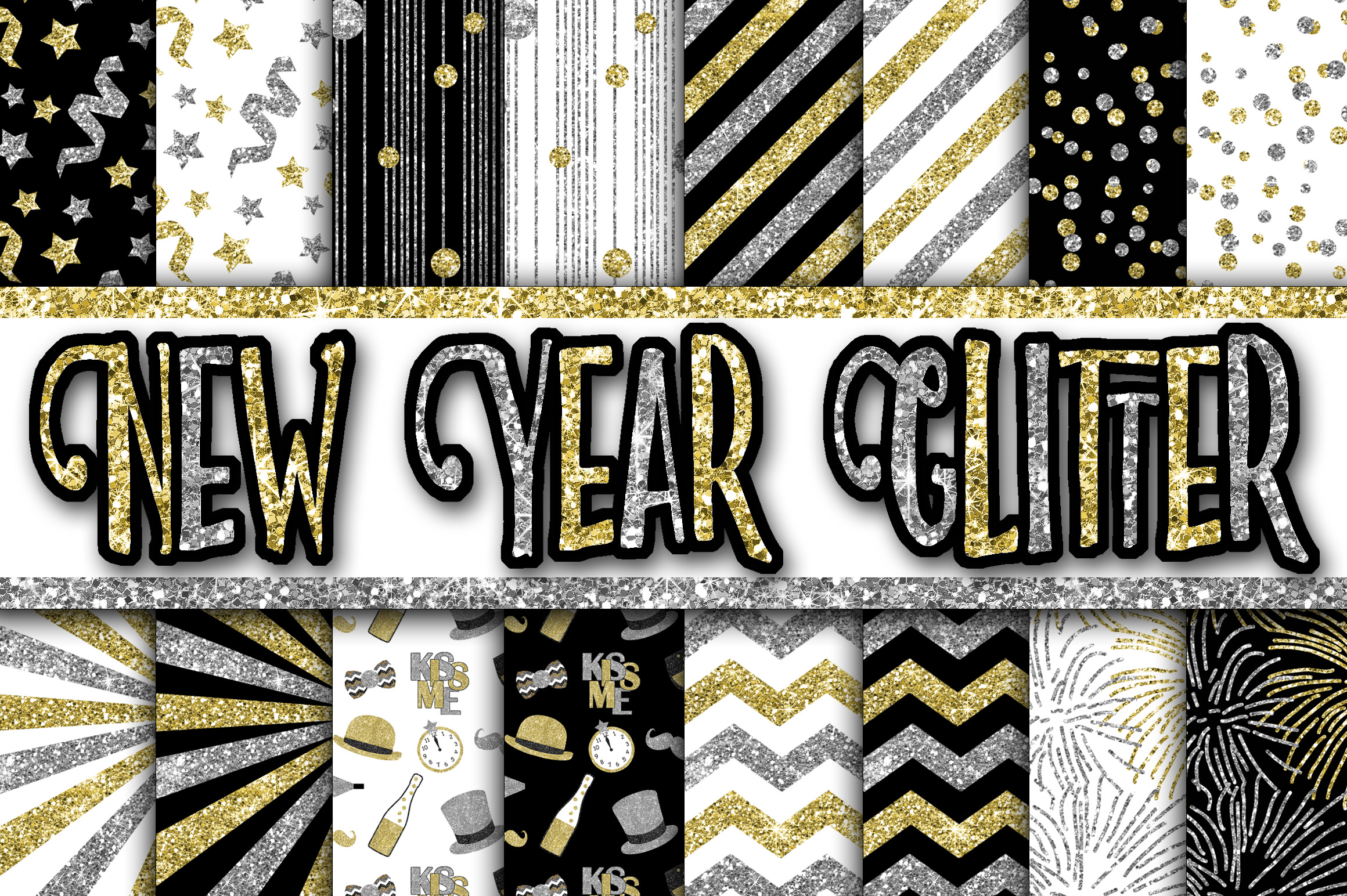 Print on Demand: New Year Glitter Digital Paper Graphic Backgrounds By oldmarketdesigns