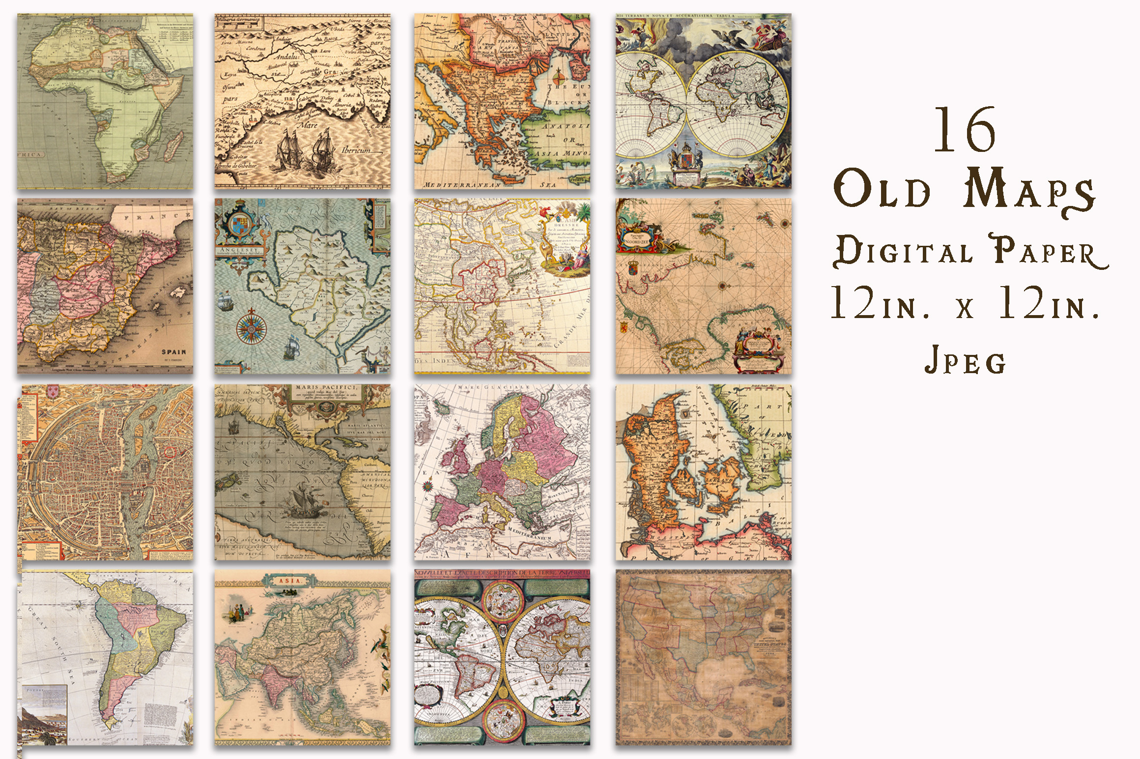 Print on Demand: Old Maps Digital Paper Graphic Backgrounds By oldmarketdesigns - Image 2