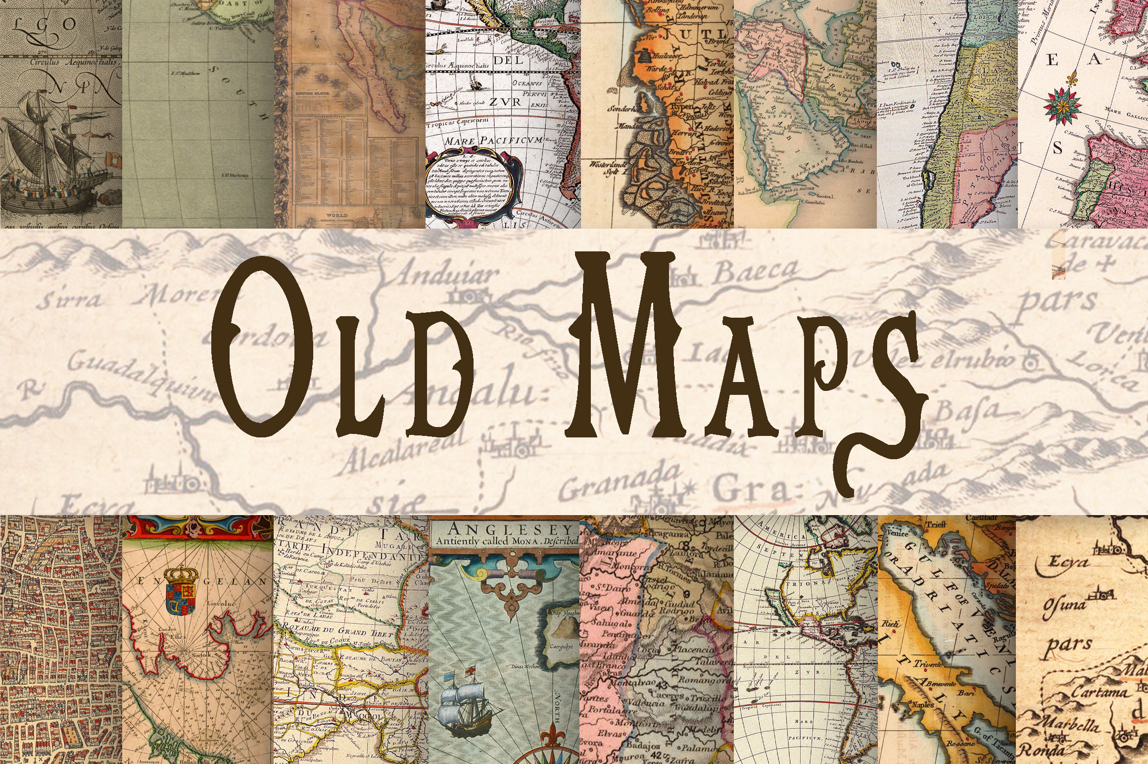 Print on Demand: Old Maps Digital Paper Gráfico Fondos Por oldmarketdesigns