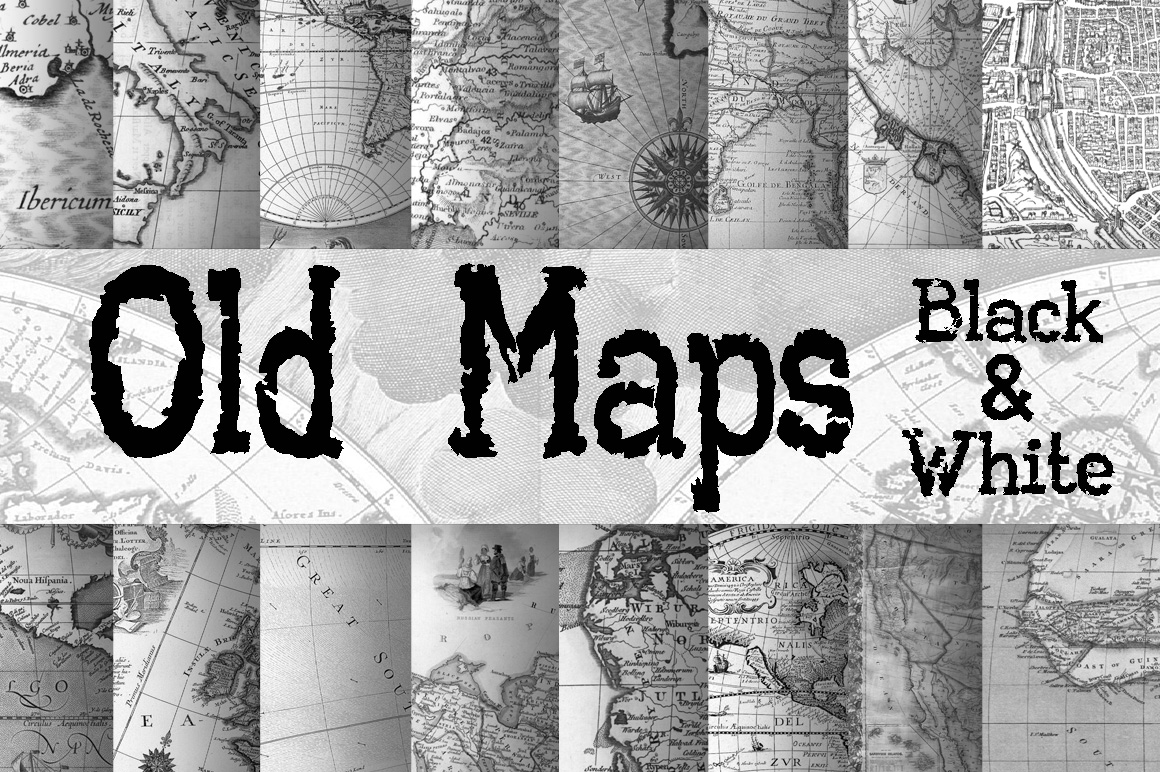 Old Maps Digital Paper in Black and White Graphic Backgrounds By oldmarketdesigns