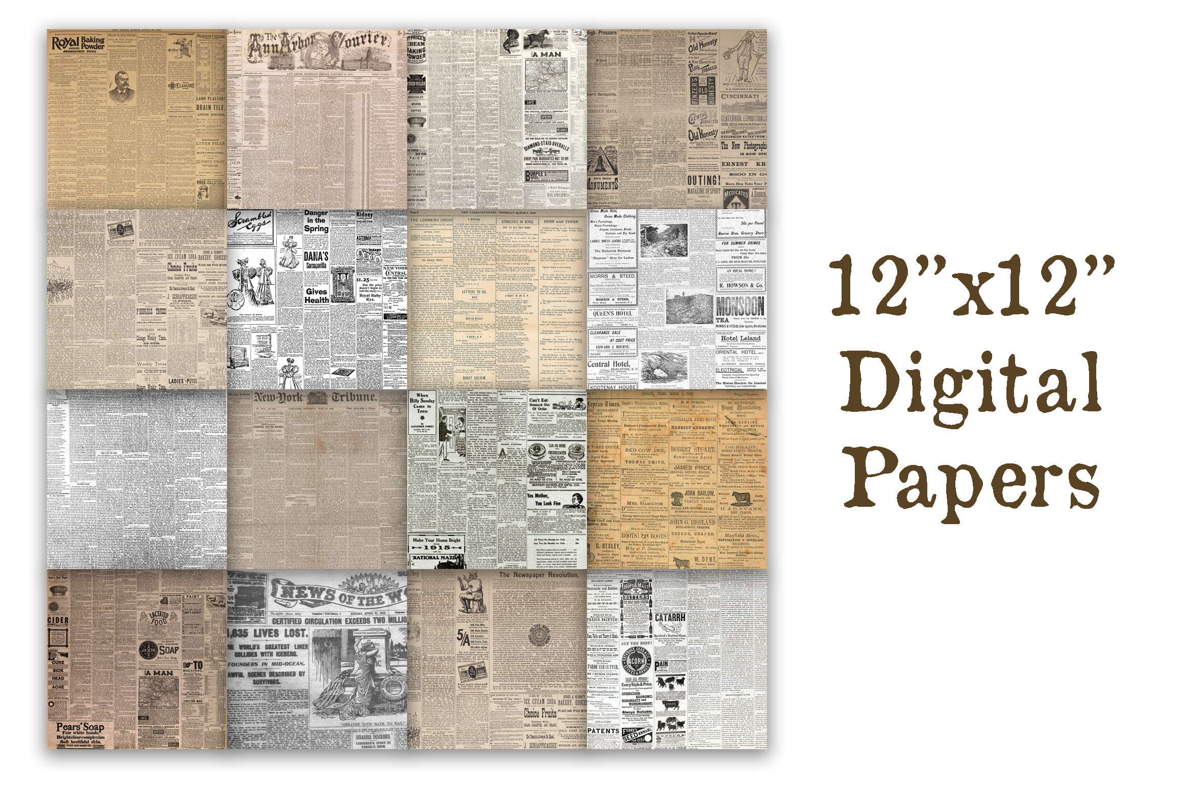 Download Free Old Newspapers Digital Paper Textures Graphic By for Cricut Explore, Silhouette and other cutting machines.