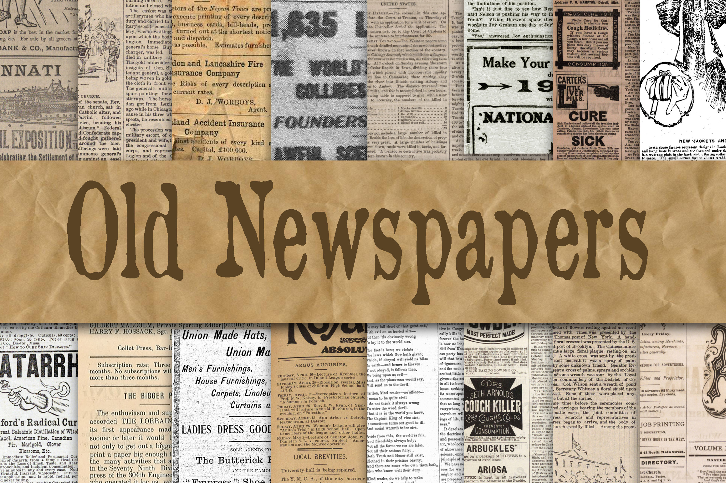 Print on Demand: Old Newspapers Digital Paper Textures Graphic Backgrounds By oldmarketdesigns