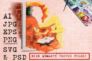 Download Free Orange Cat In The Window Watercolor Graphic By Ambar Art for Cricut Explore, Silhouette and other cutting machines.