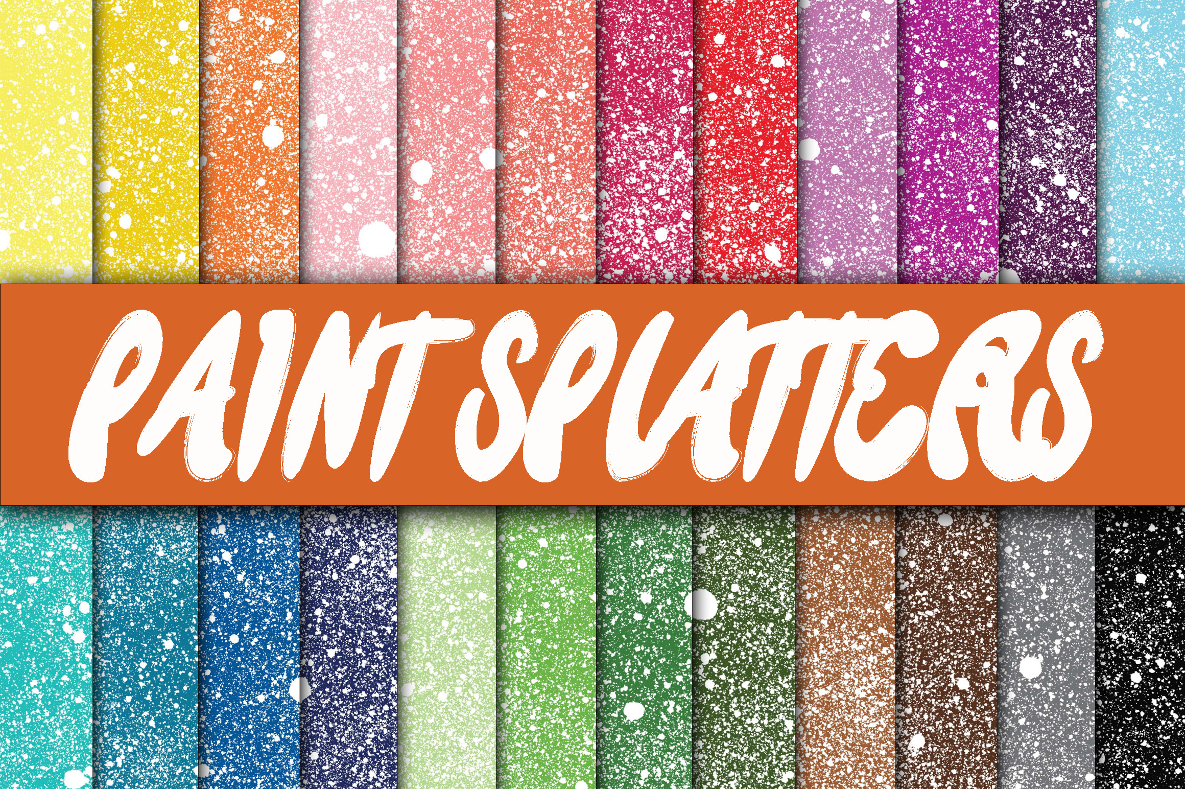 Print on Demand: Paint Splatters Digital Paper Textures Graphic Backgrounds By oldmarketdesigns