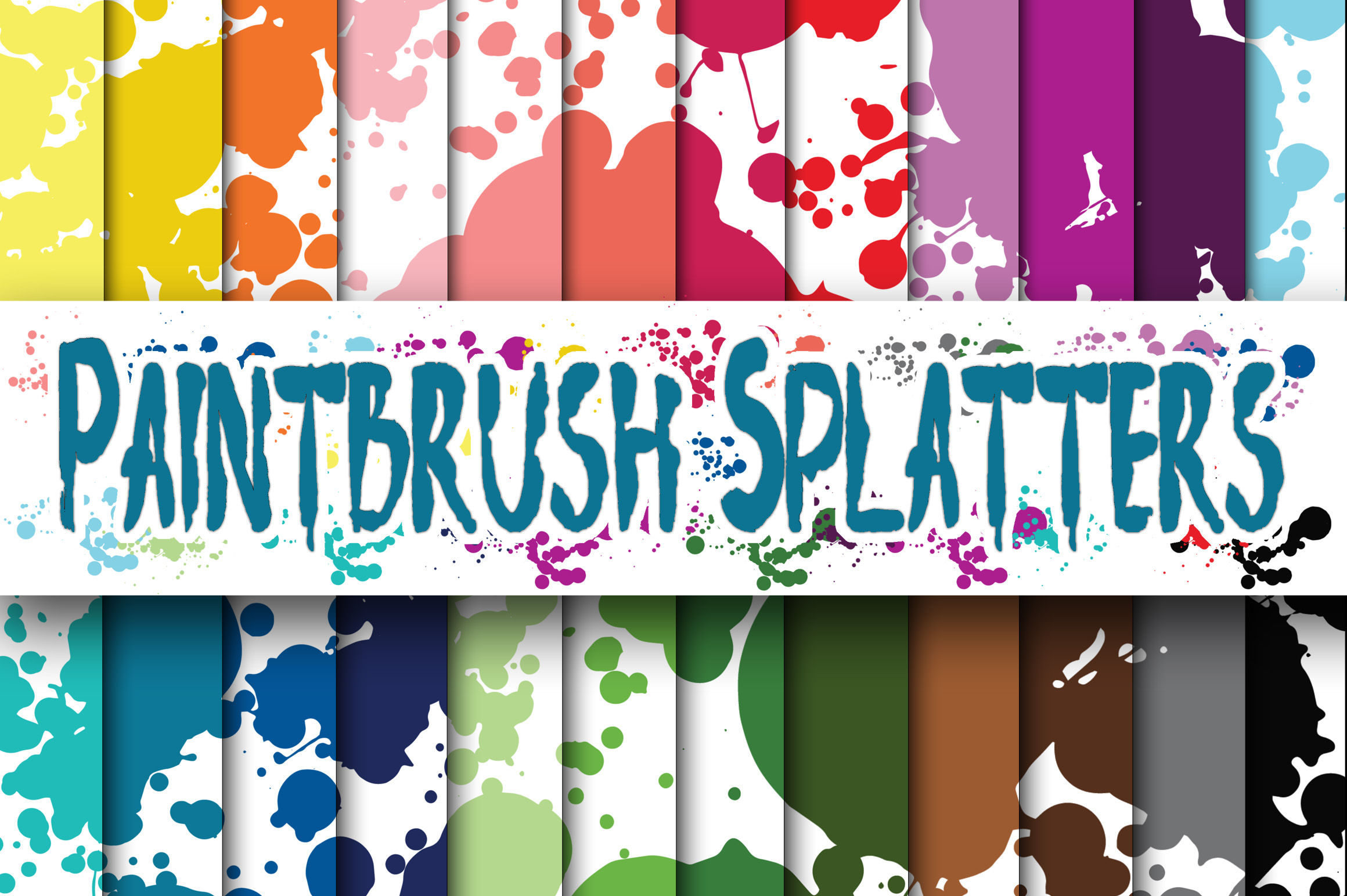 Paintbrush Splatters Digital Papers Graphic Backgrounds By oldmarketdesigns
