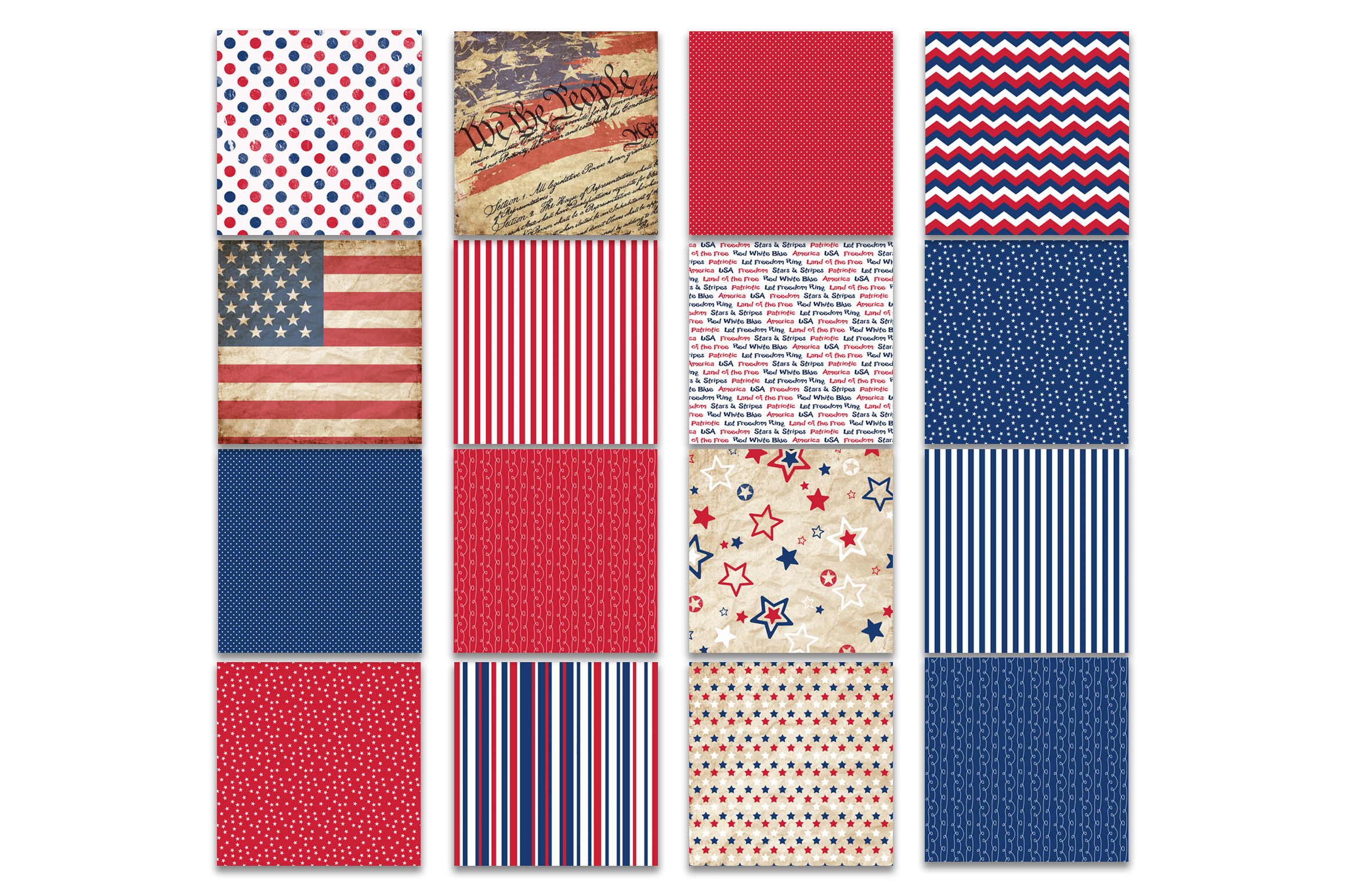 Patriotic Digital Paper Graphic Backgrounds By oldmarketdesigns - Image 2