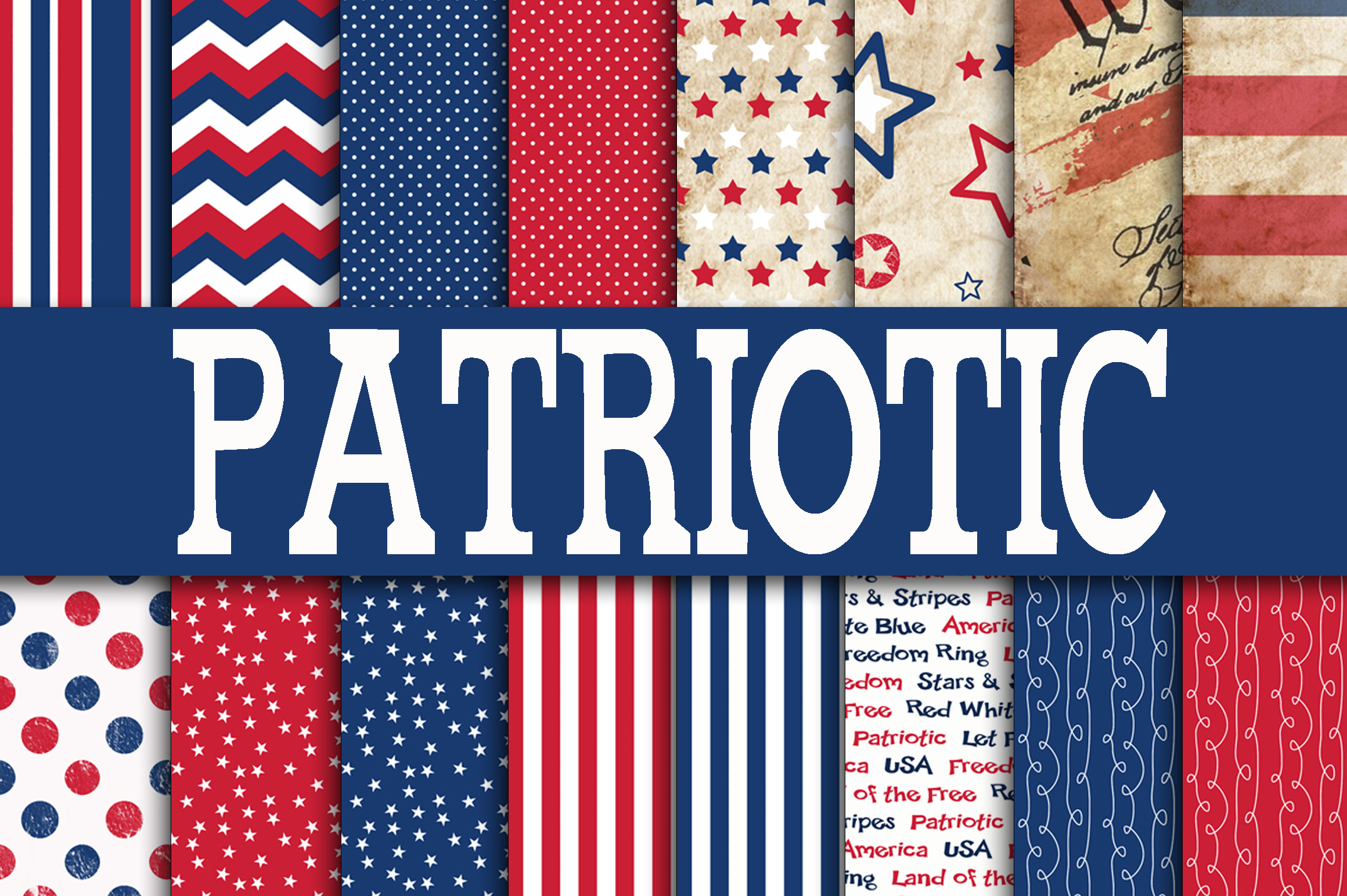 Print on Demand: Patriotic Digital Paper Graphic Backgrounds By oldmarketdesigns