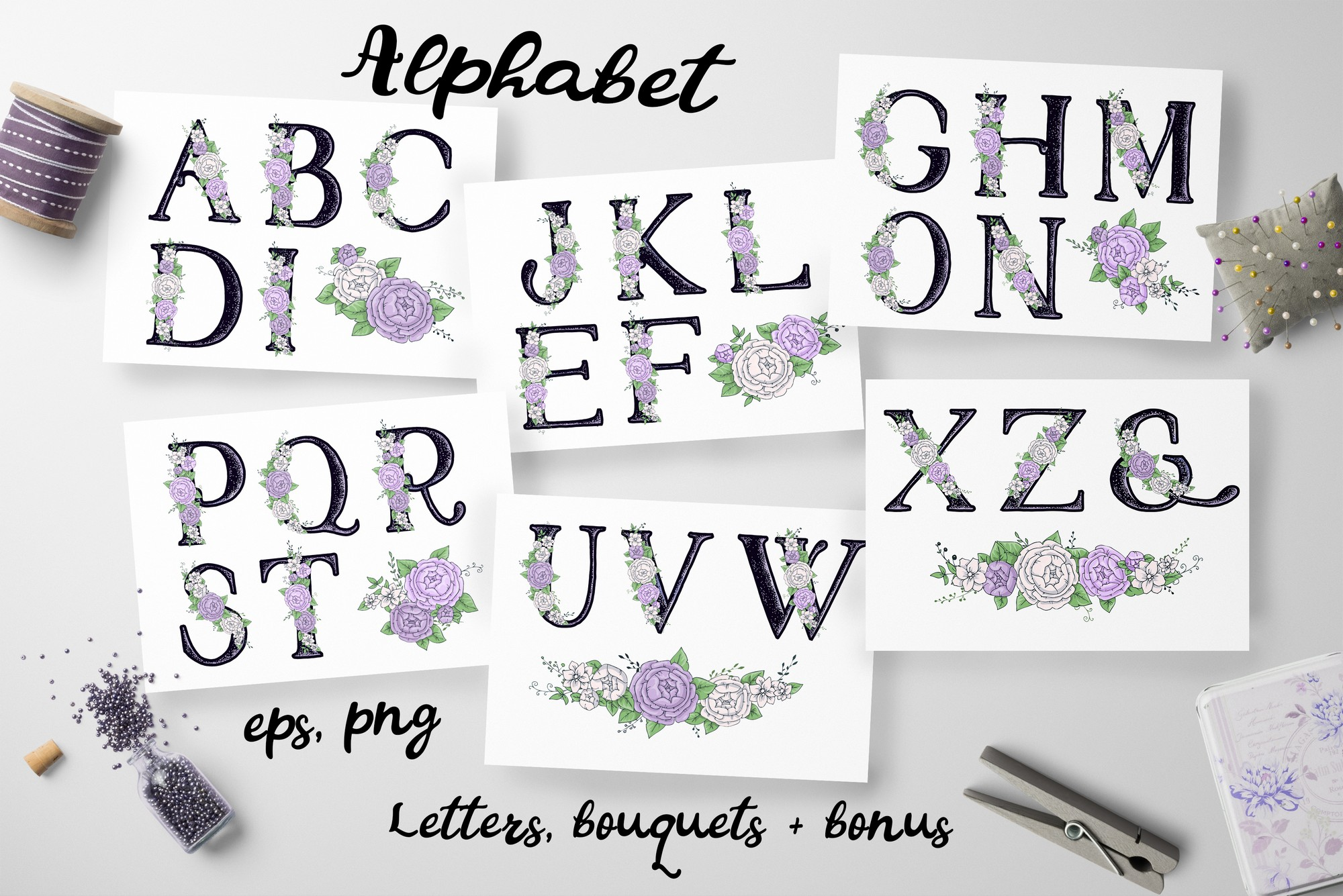 Print on Demand: Peonies Alphabet and Floral Wreath Graphic Illustrations By nicjulia