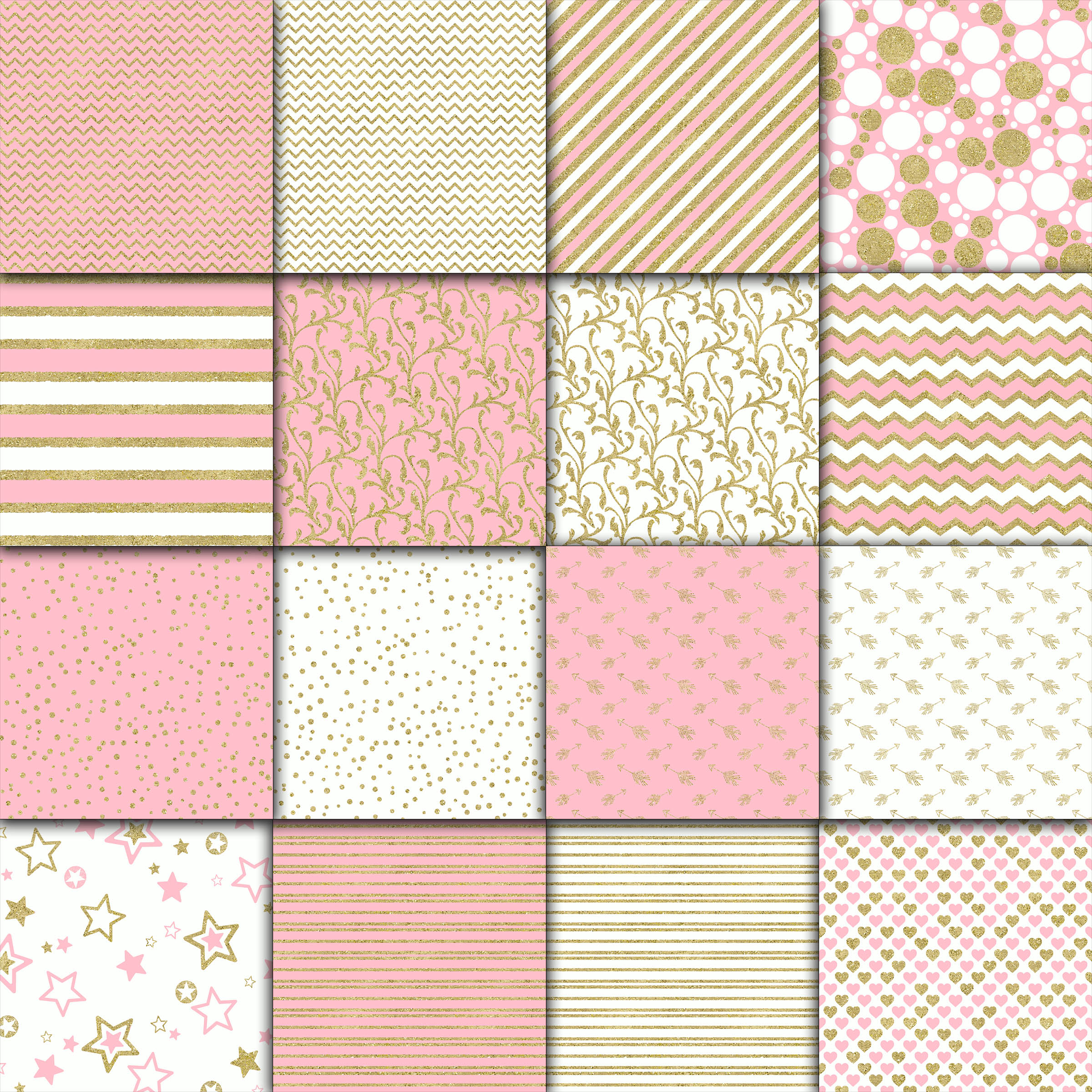 Print on Demand: Pink and Gold Digital Paper Graphic Backgrounds By oldmarketdesigns - Image 2