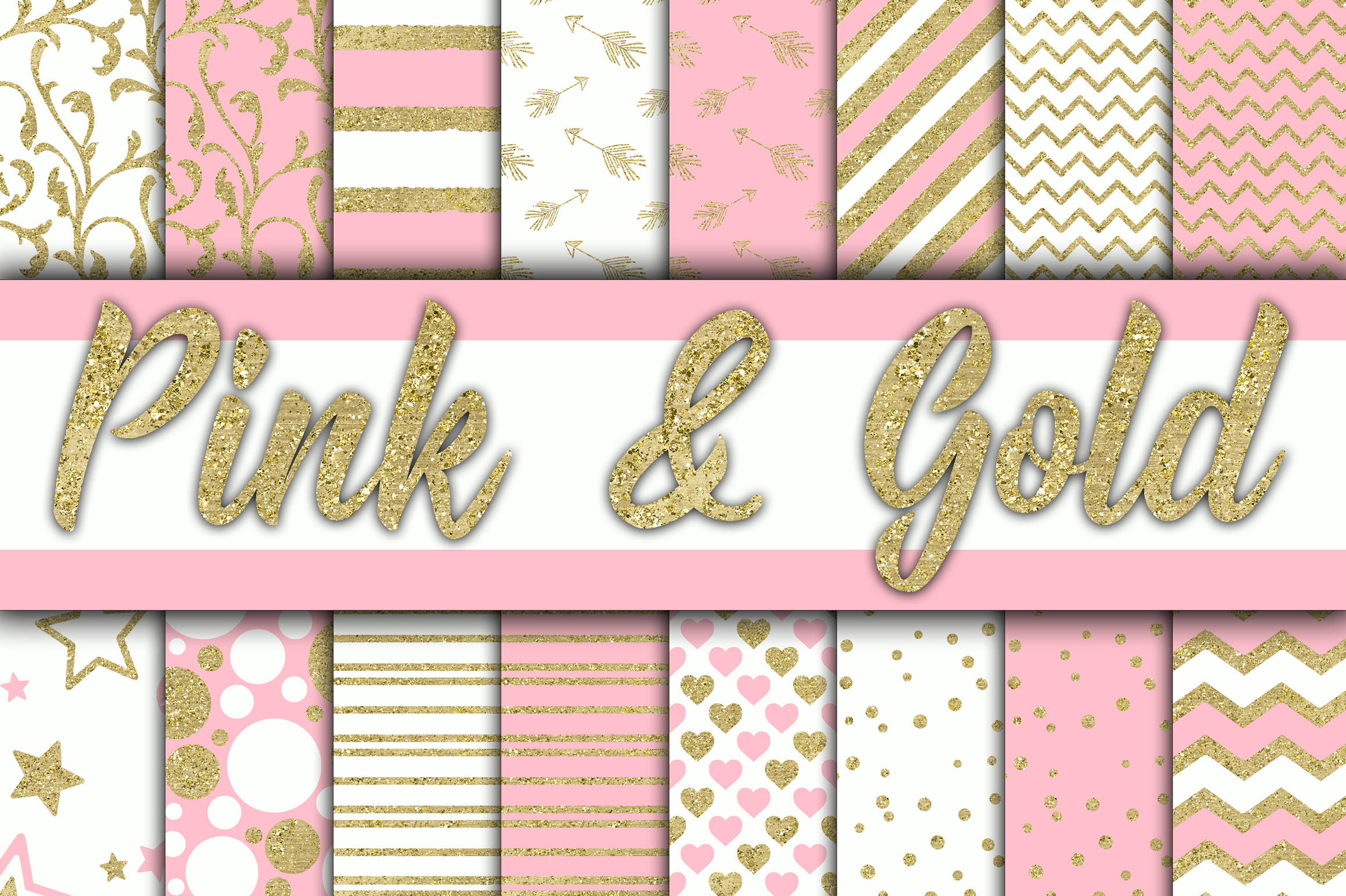Pink and Gold Digital Paper Graphic Backgrounds By oldmarketdesigns