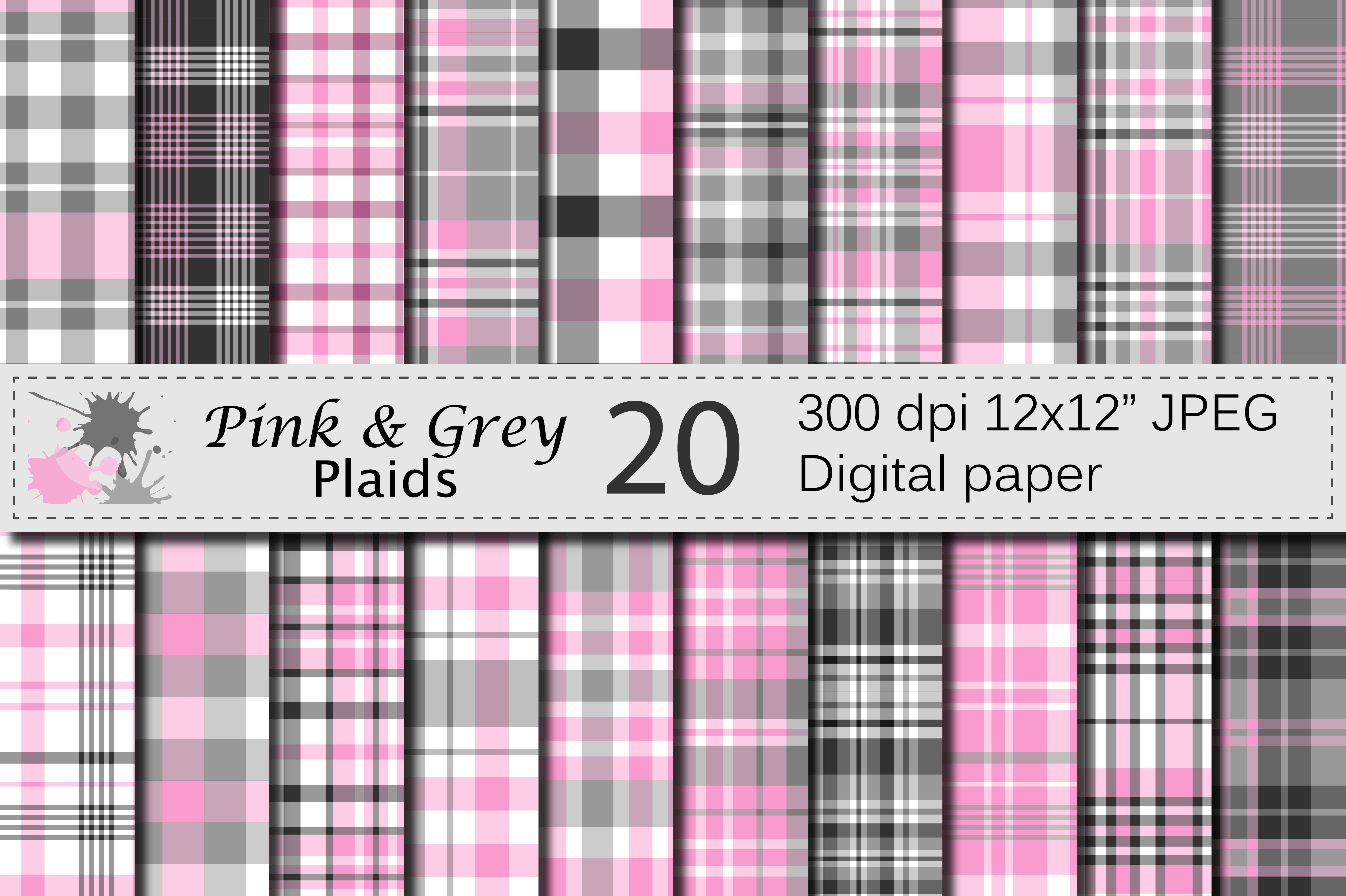 Pink and Gray Plaid Digital Paper Graphic Backgrounds By VR Digital Design