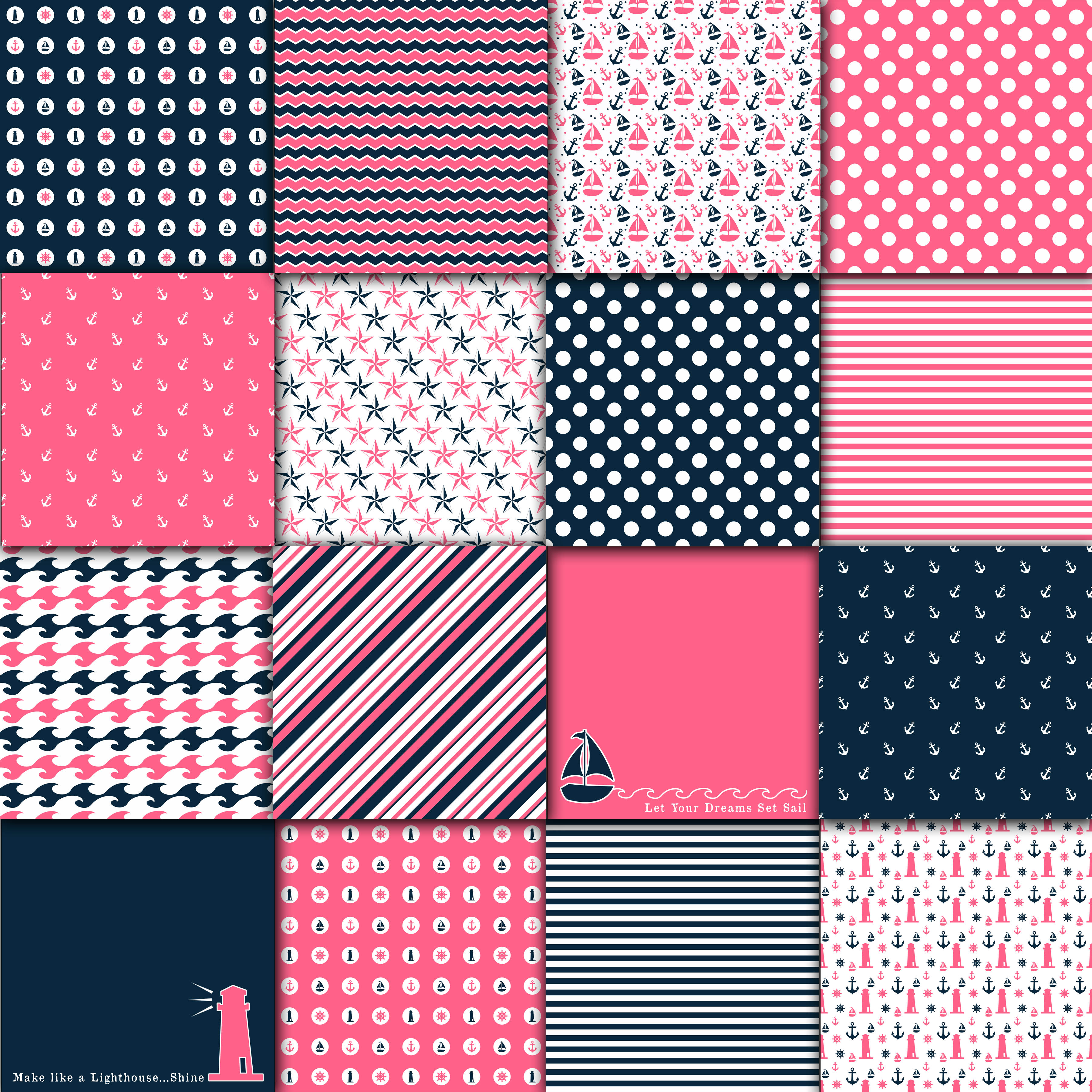 Pink And Navy Blue Nautical Designs Digital Paper Graphic By Oldmarketdesigns Creative Fabrica