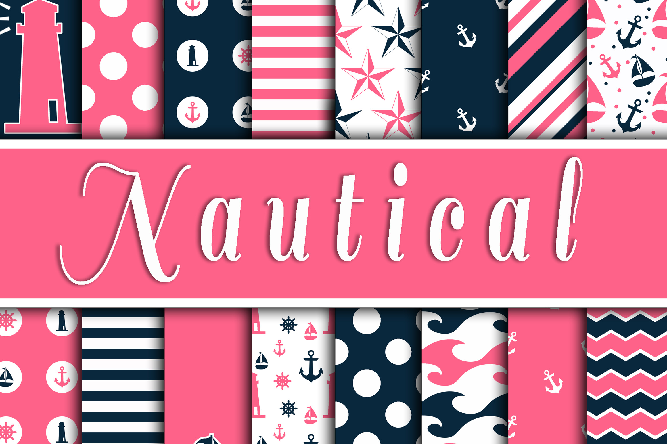 Download Free Pink And Navy Blue Nautical Designs Digital Paper Graphic By for Cricut Explore, Silhouette and other cutting machines.