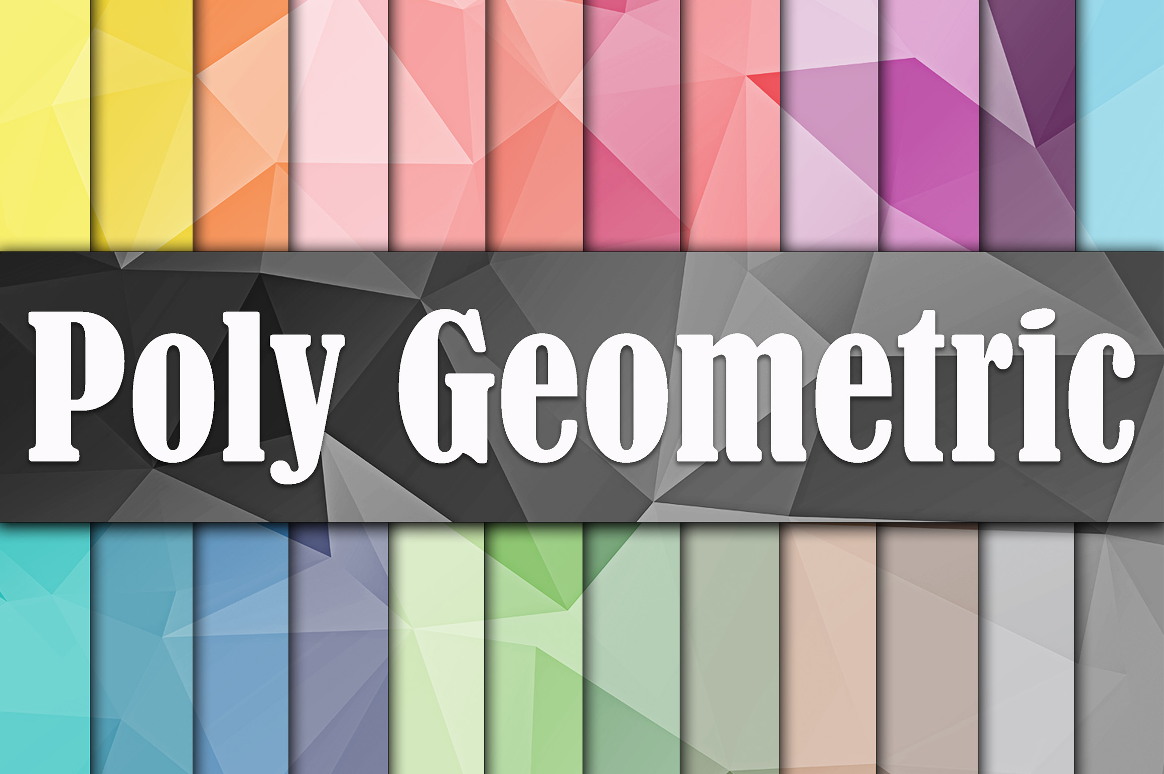 Print on Demand: Poly Geometric Digital Paper Graphic Backgrounds By oldmarketdesigns