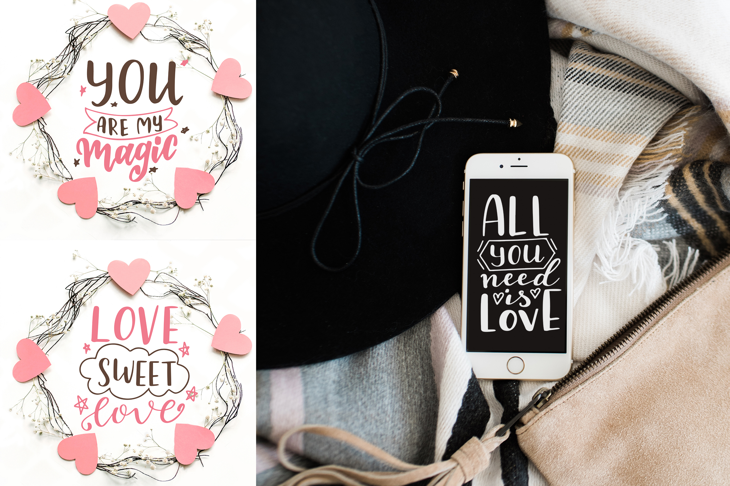 Download Free Quotes About Love Lettering Pack Graphic By Tregubova Jul for Cricut Explore, Silhouette and other cutting machines.
