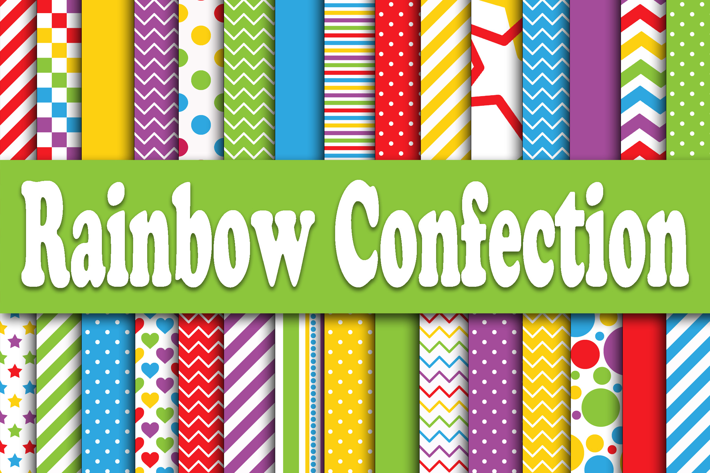 Rainbow Confection Digital Paper Graphic Backgrounds By oldmarketdesigns