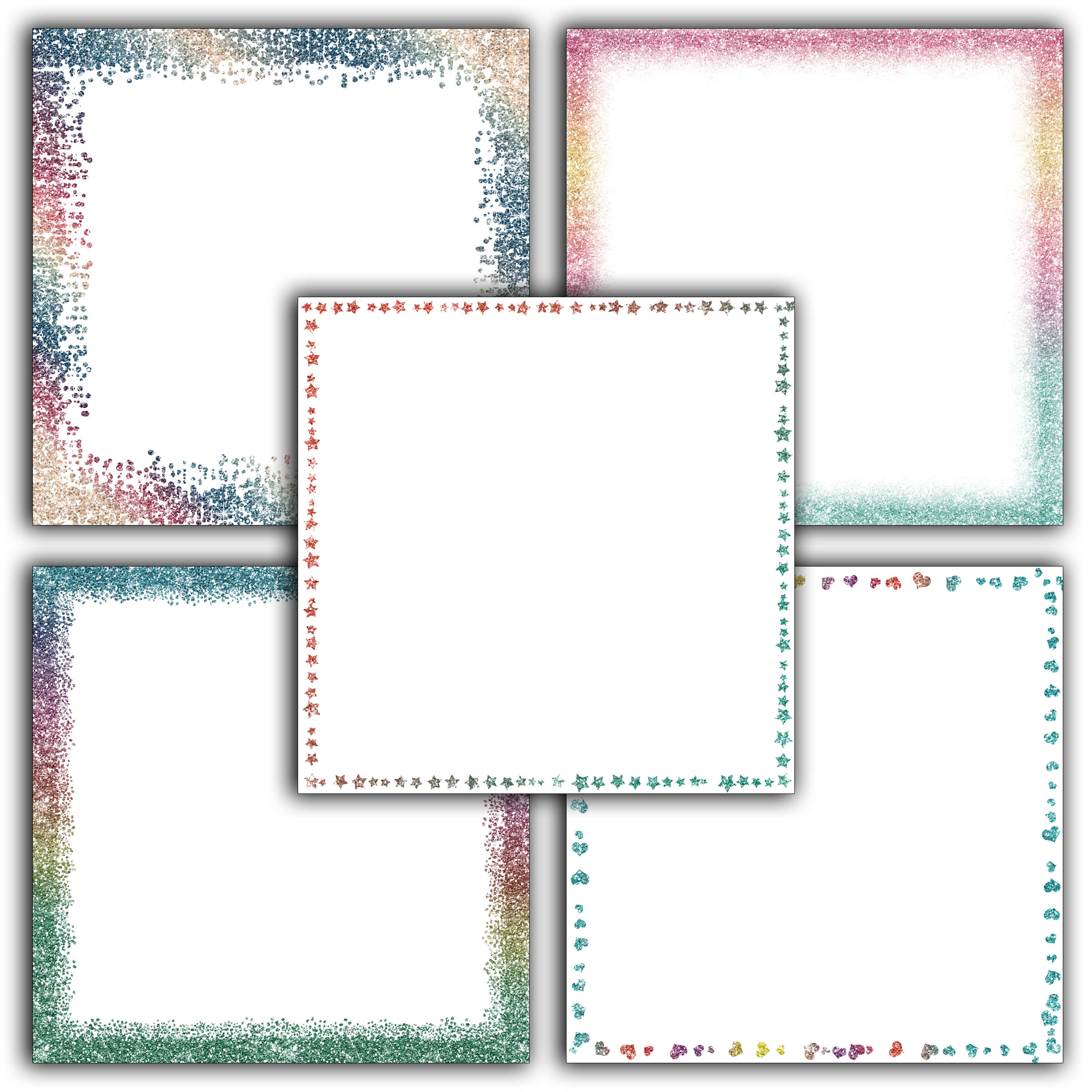 Print on Demand: Rainbow Glitter Borders Digital Paper Graphic Backgrounds By oldmarketdesigns - Image 5