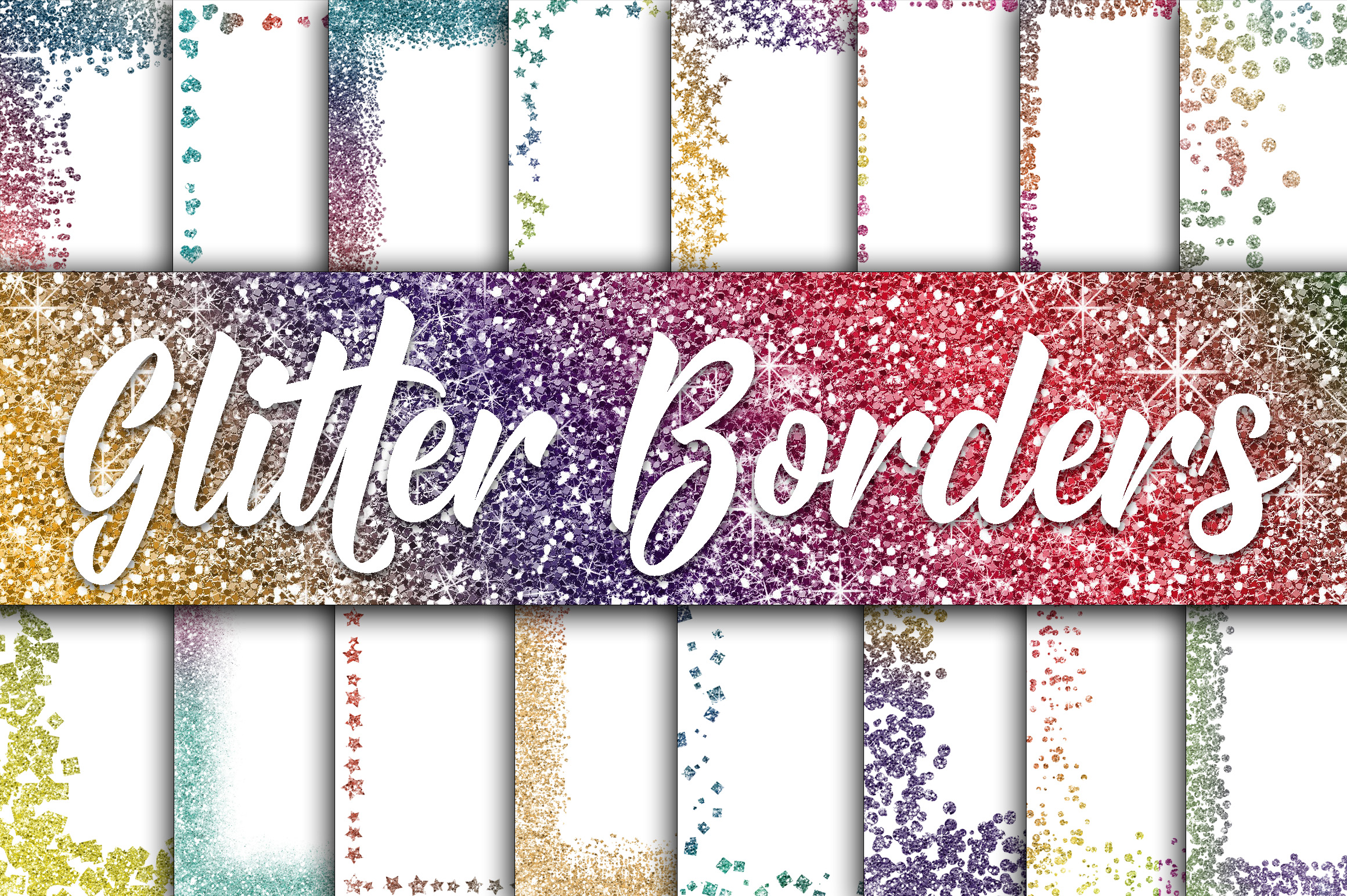 Print on Demand: Rainbow Glitter Borders Digital Paper Graphic Backgrounds By oldmarketdesigns - Image 1