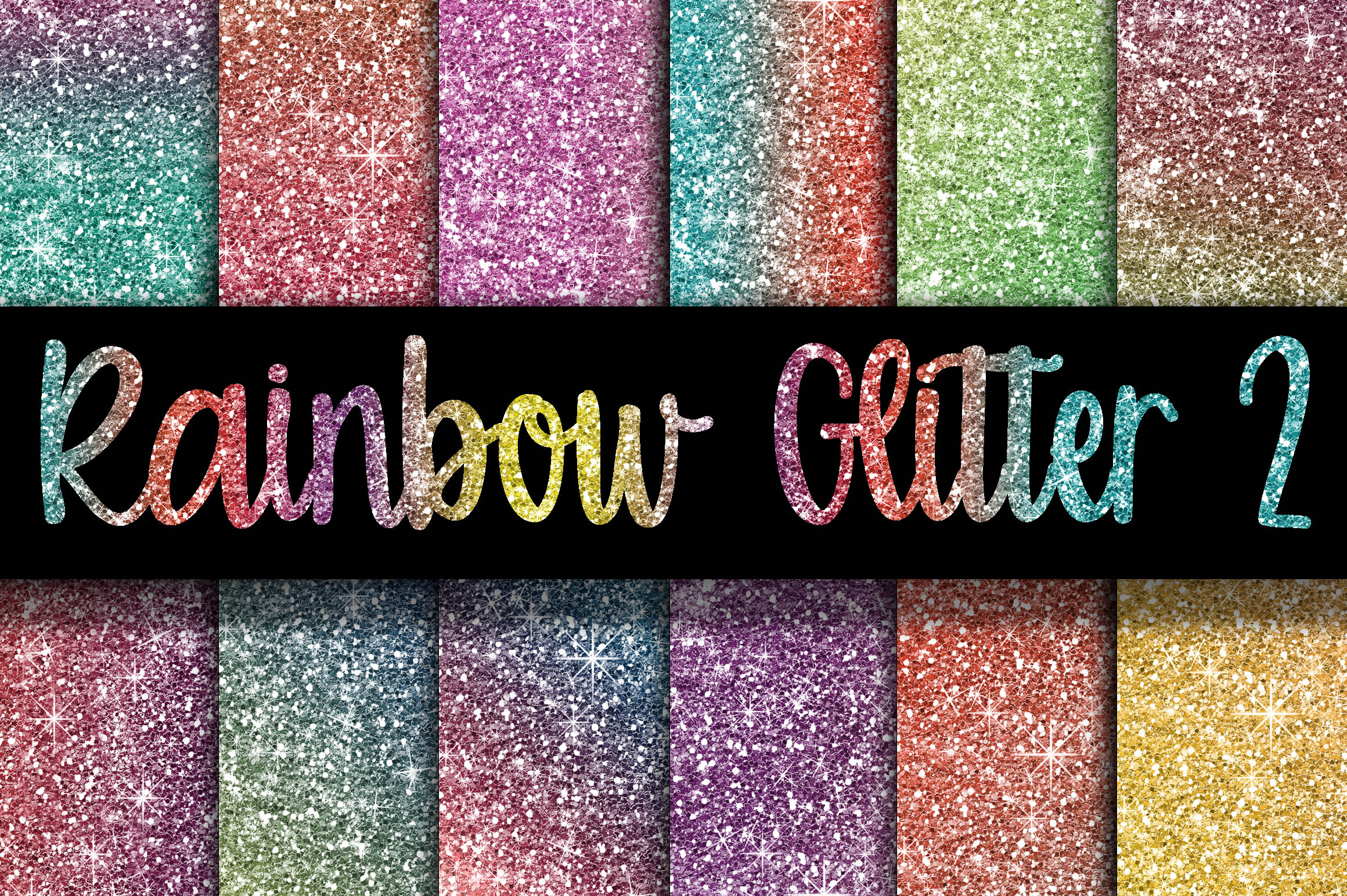 Rainbow Glitter Digital Paper Textures 2 Graphic Backgrounds By oldmarketdesigns